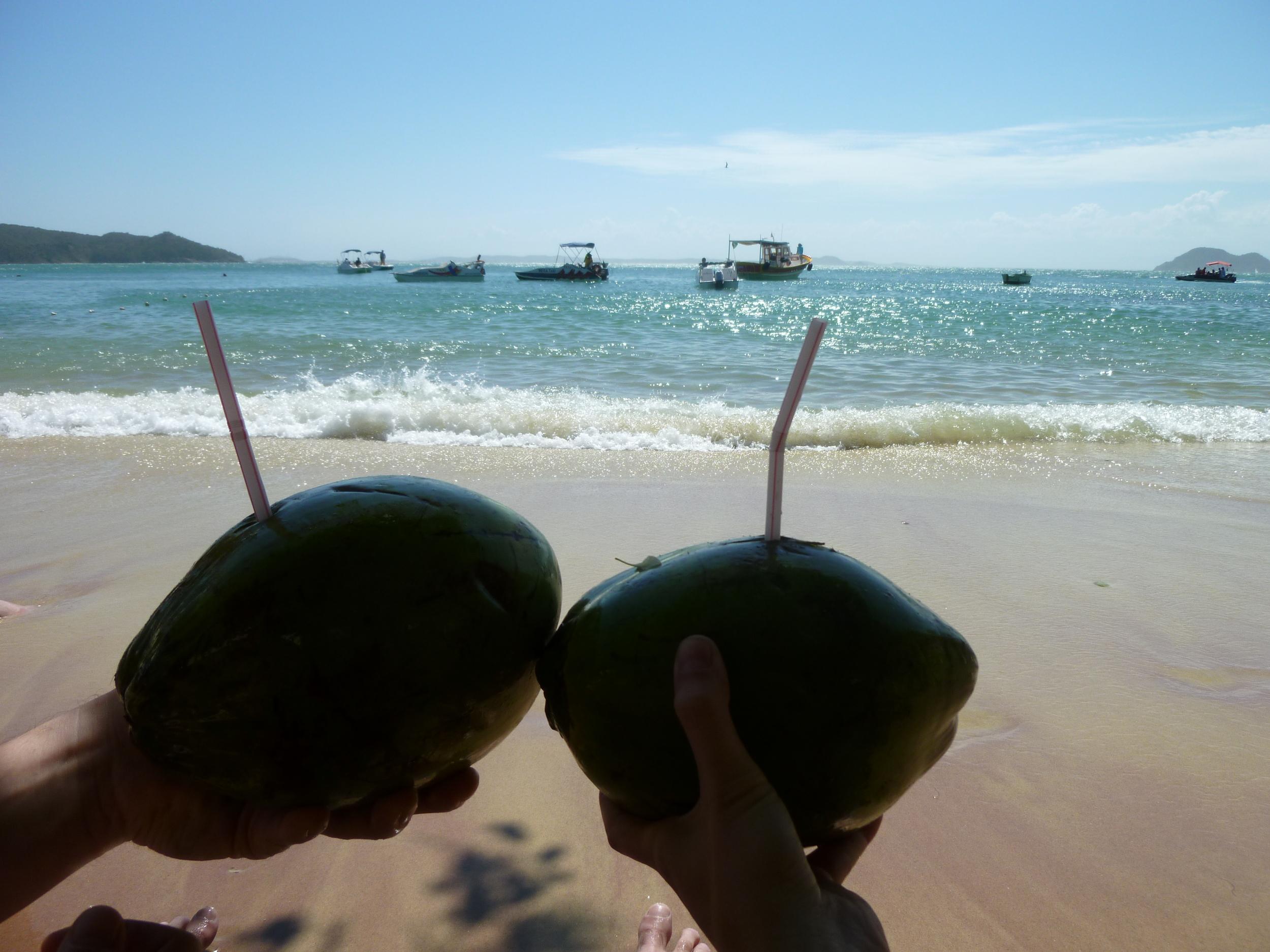 Coco gelado with a straw