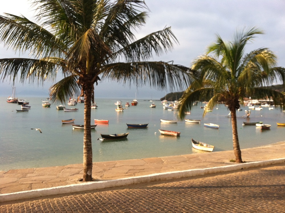 Small fishing boats and palm trees