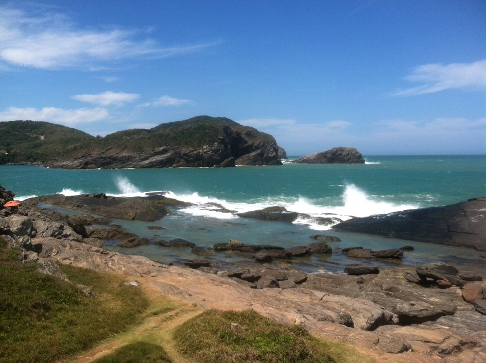 Climbed down a steep hill to discover this area - a wild tidal pool with aggressive surf
