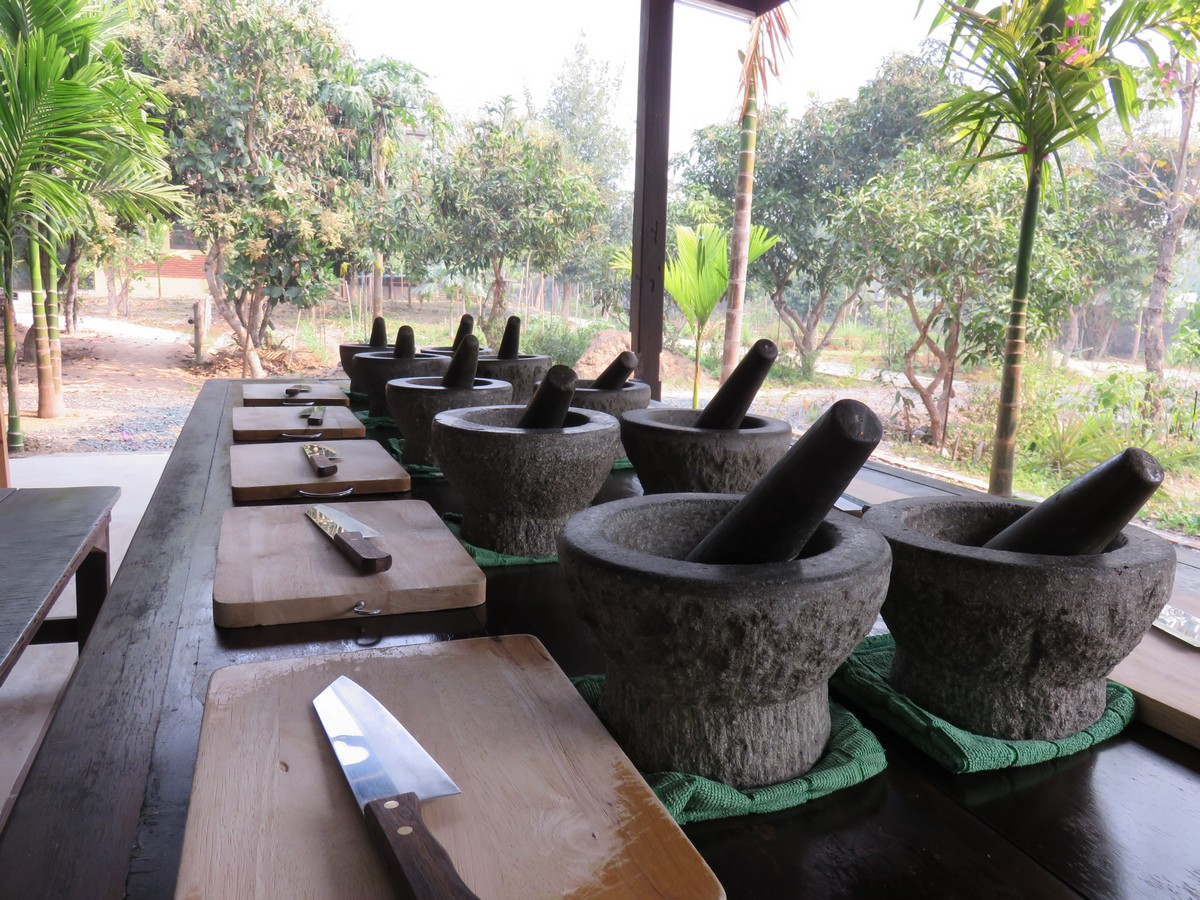 Mortar and pestle waiting for us to add the ingredients for curry paste