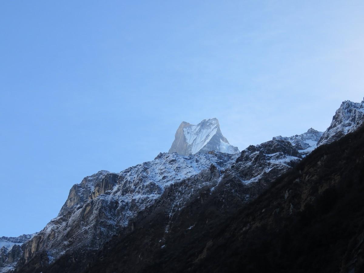 Machapuchhre mountain. Also known as Fishtail mountain due to the shape of the peak.