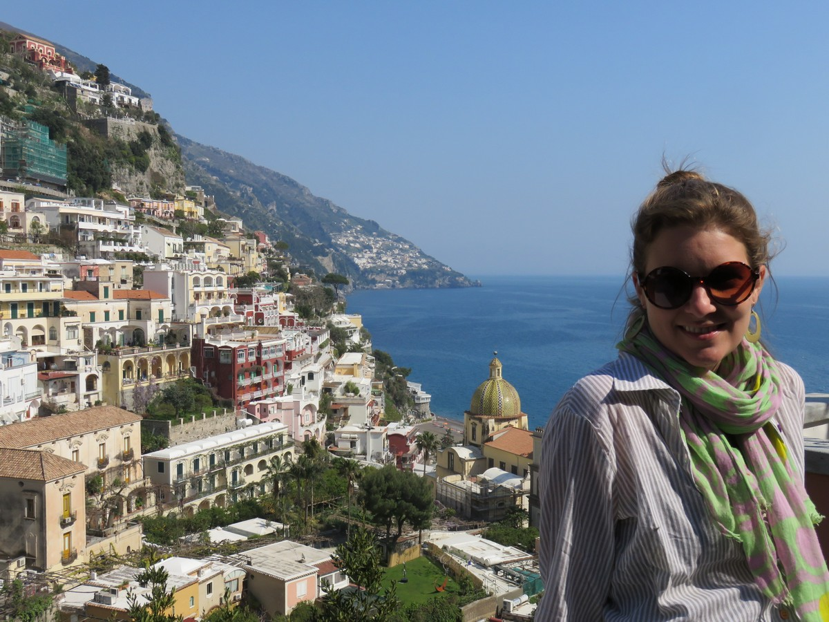 Positano views of majolica tiled church roof!