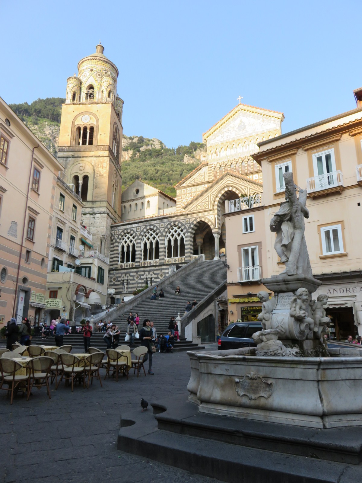 The beautiful Amalfi church and piazza