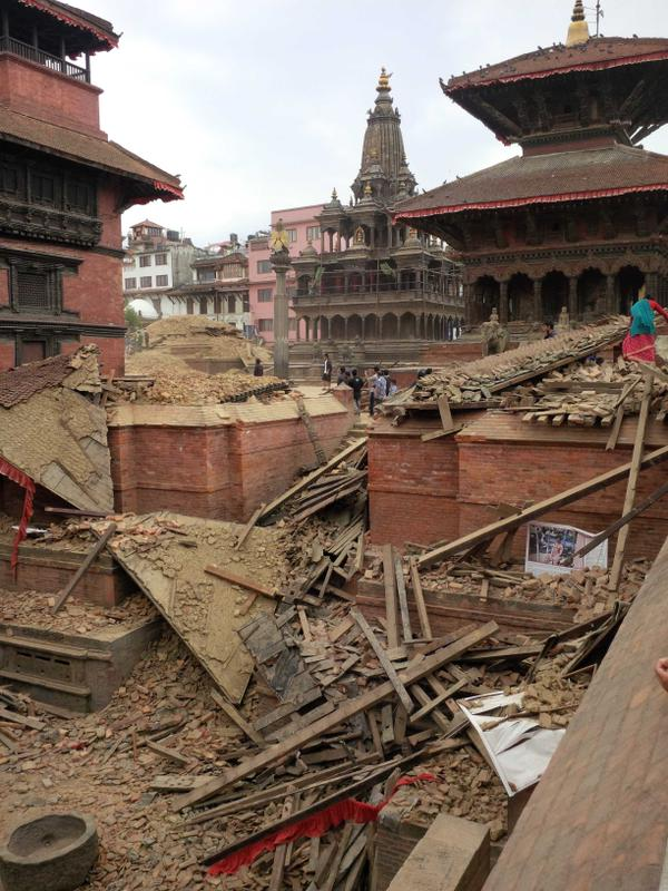 Rubble of Patan Durbar Square, April 26, 2015