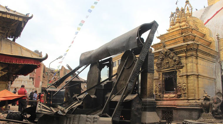 Damaged prayer wheels at Swayambhunath stupa, April 26, 2015