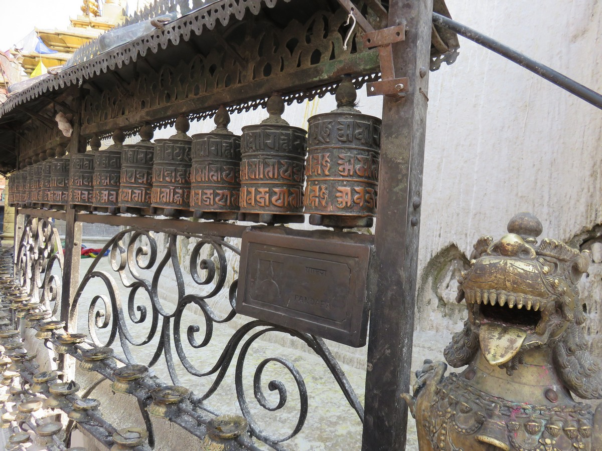 Prayer Wheels at Swayambhunath stupa, March 26, 2015