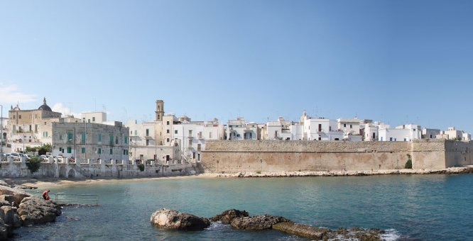 Monopoli's old city with remnants of original city walls.