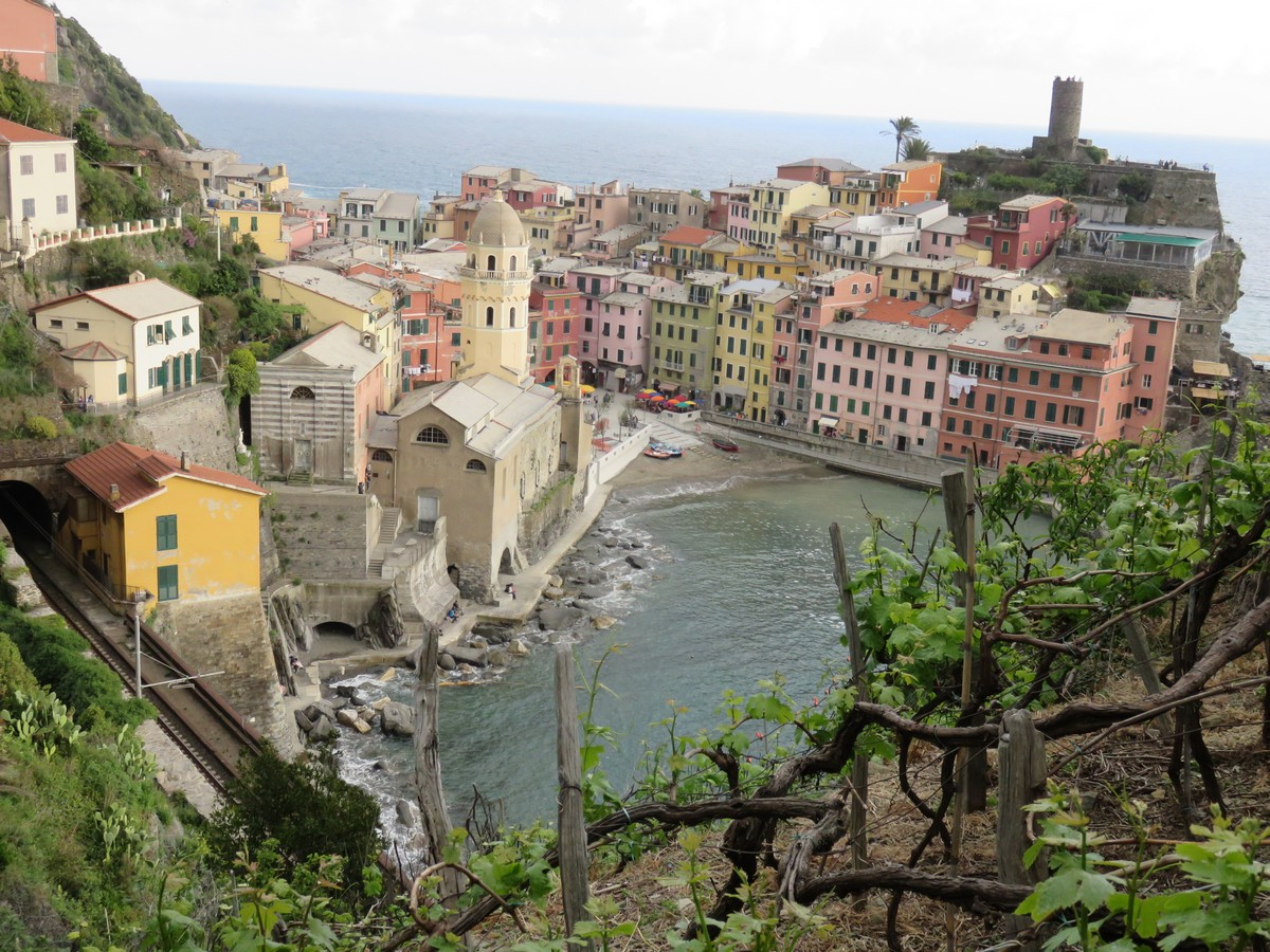 Cinque Terre's Vernazza from atop the cliff hiking trail.