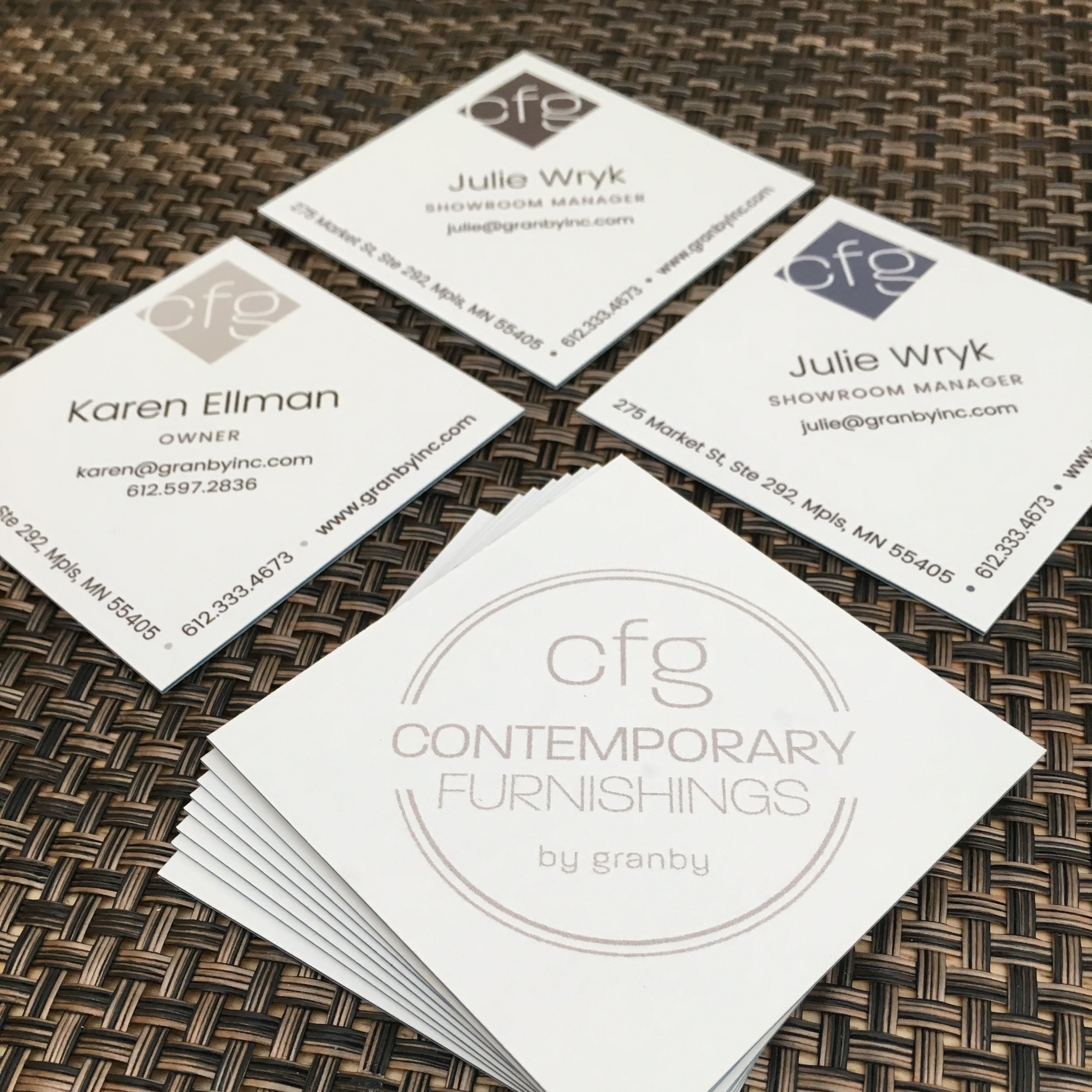Designed luxury, extra-thick diamond business cards with a variety of logo colors.