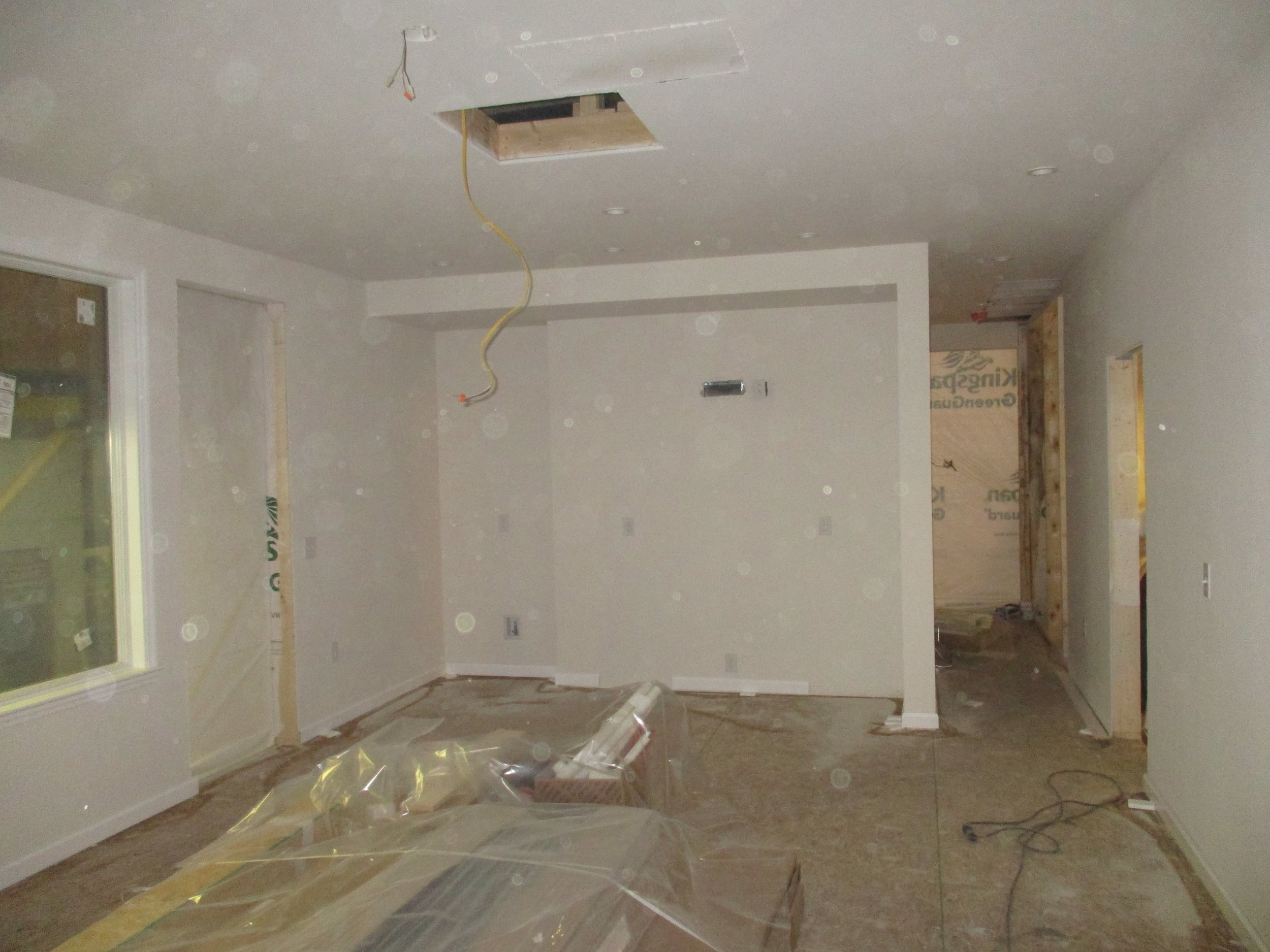 Interior of the first floor looking towards what will be the kitchen.