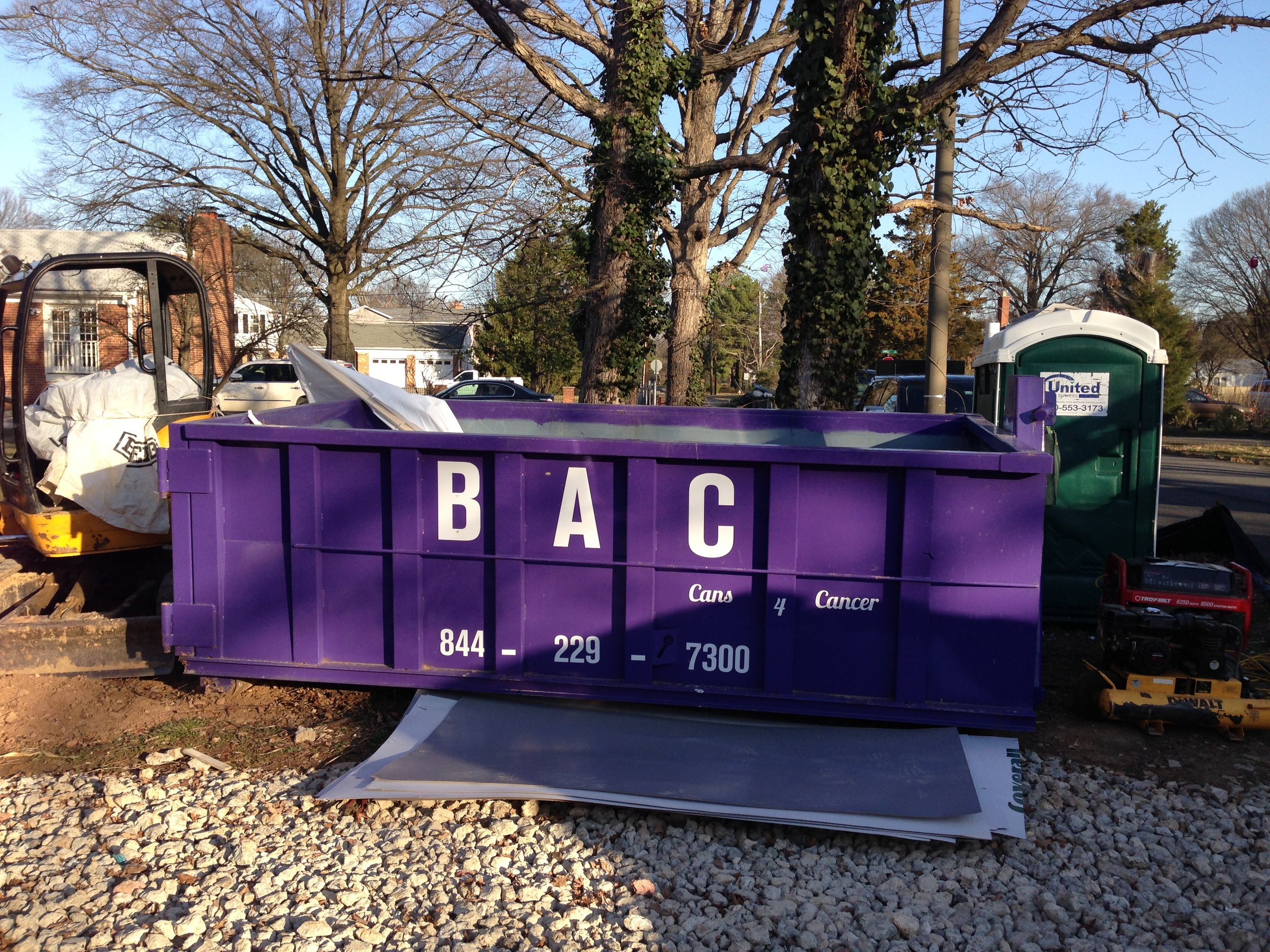 8:15 - Our purple dumpster for all the trash that will come off of the modular units. It will fill up about half of the trash. However, for typical construction this dumpster would be filled every 1-2 weeks.