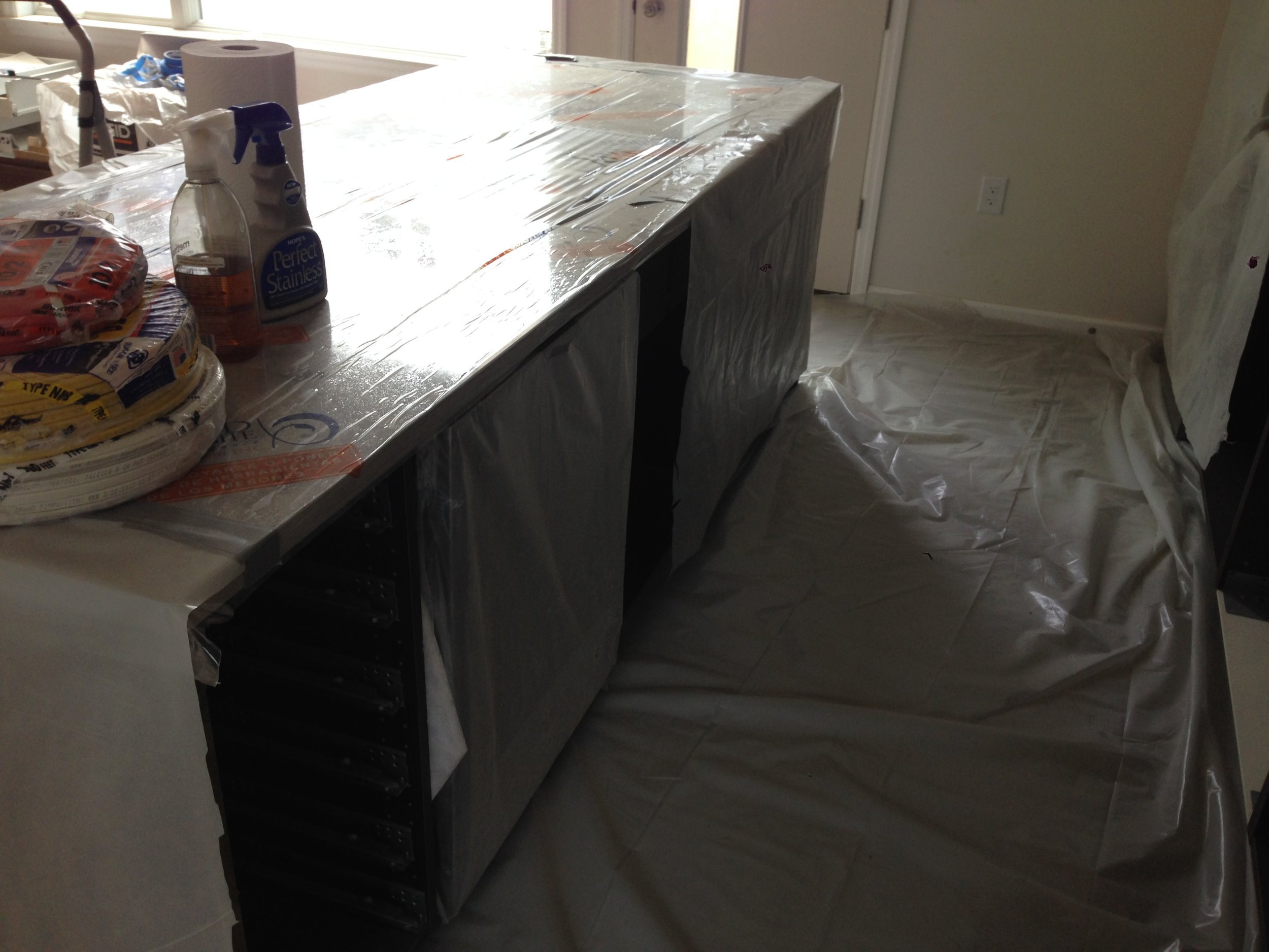 Dishwasher fits under the counter! Progress!