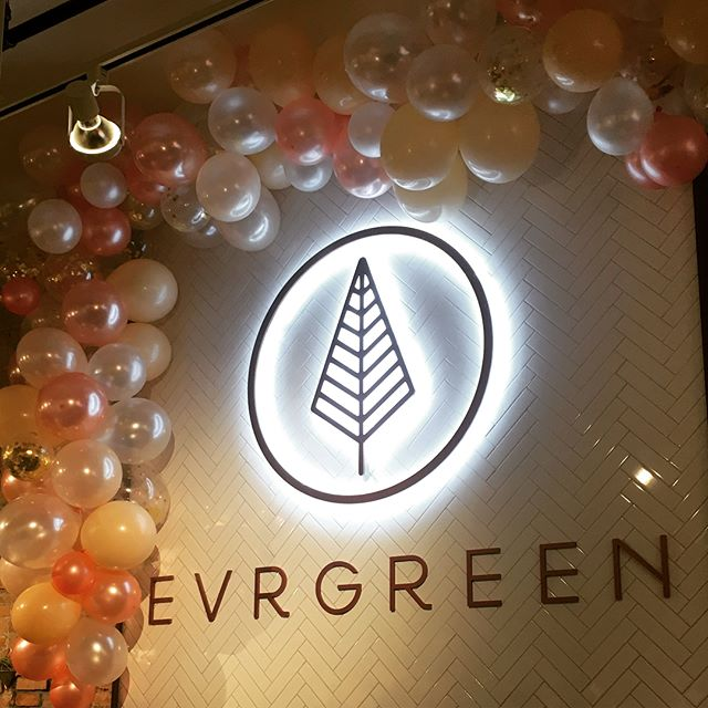 All the balloons...time for a party at @evrgreen_clothing !! . Put together and installed this balloon garland (with loads of help), and then designed and affixed a snazzy window decal for Evrgreen Clothing's one-year celebration!  Check out their sale this week if you are in Downtown Bozeman!