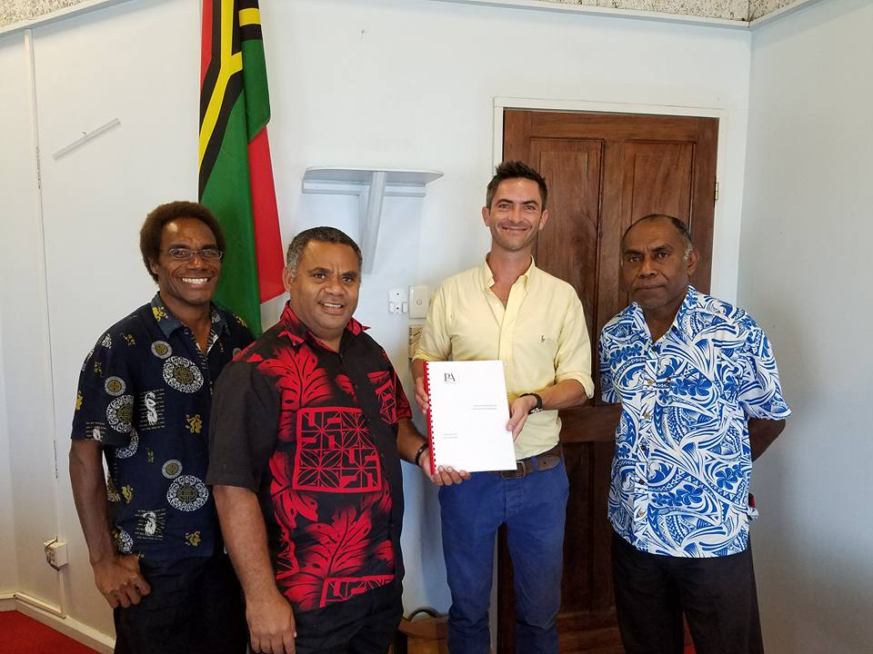 Our Regional Advisor Mike Worsp, handing over the final Vanuatu vehicle fleet review, audit and recommendations report to the Honourable Minister Jotham Napat and his team.
