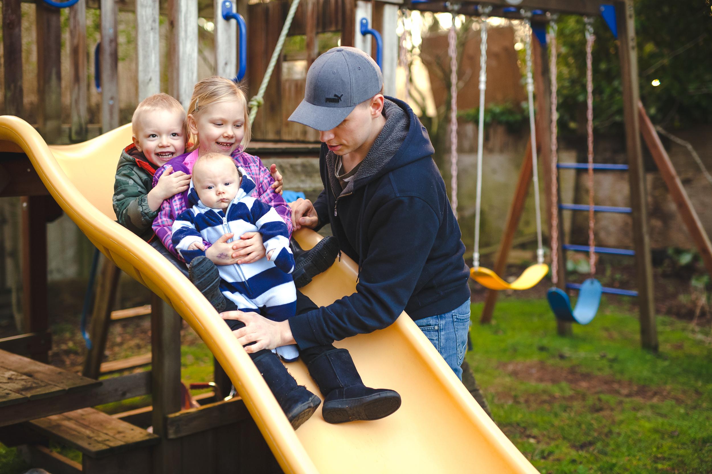 Backyard fun with dad