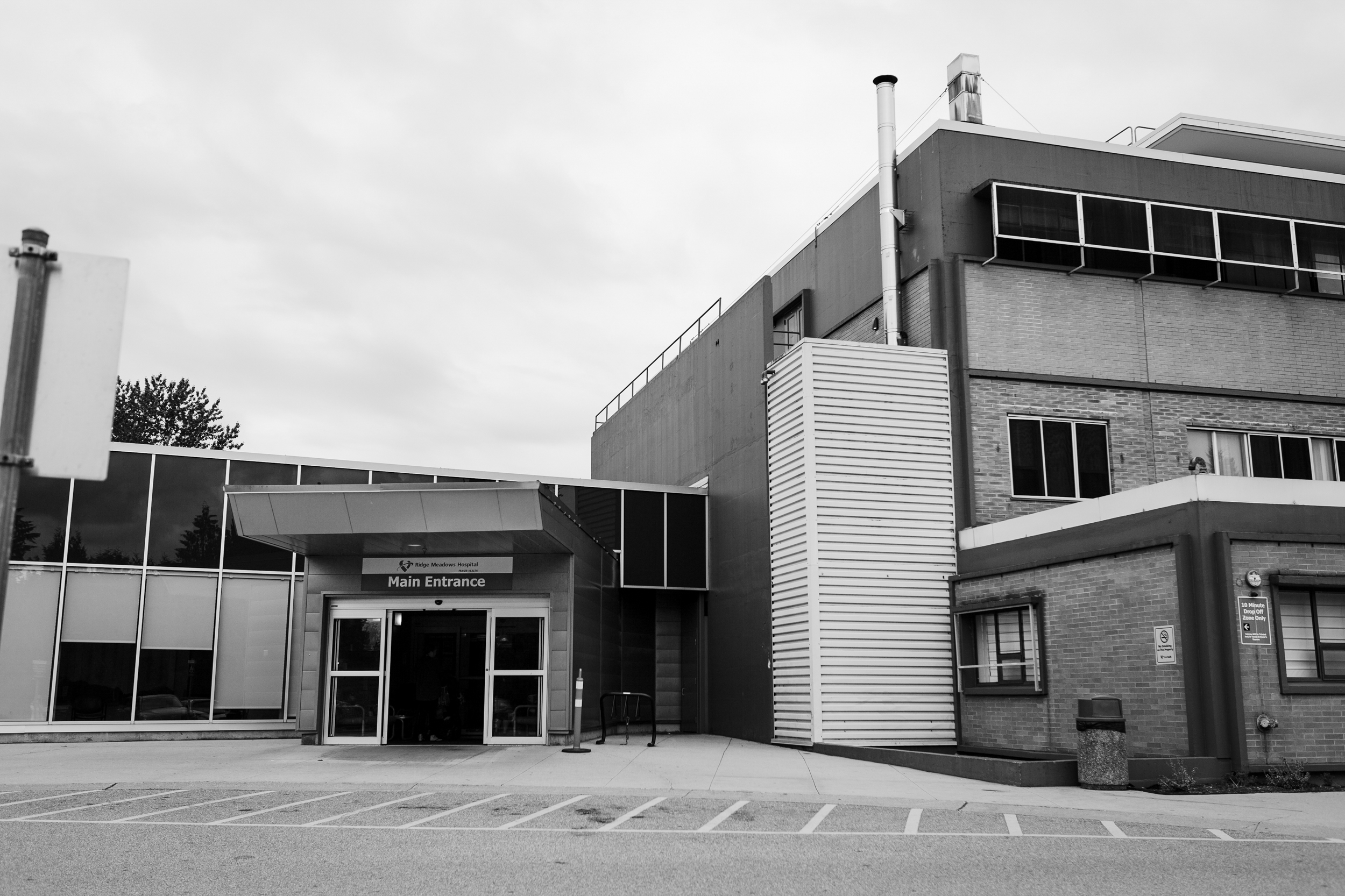 exterior of ridge meadows hospital in maple ridge, bc at a birth