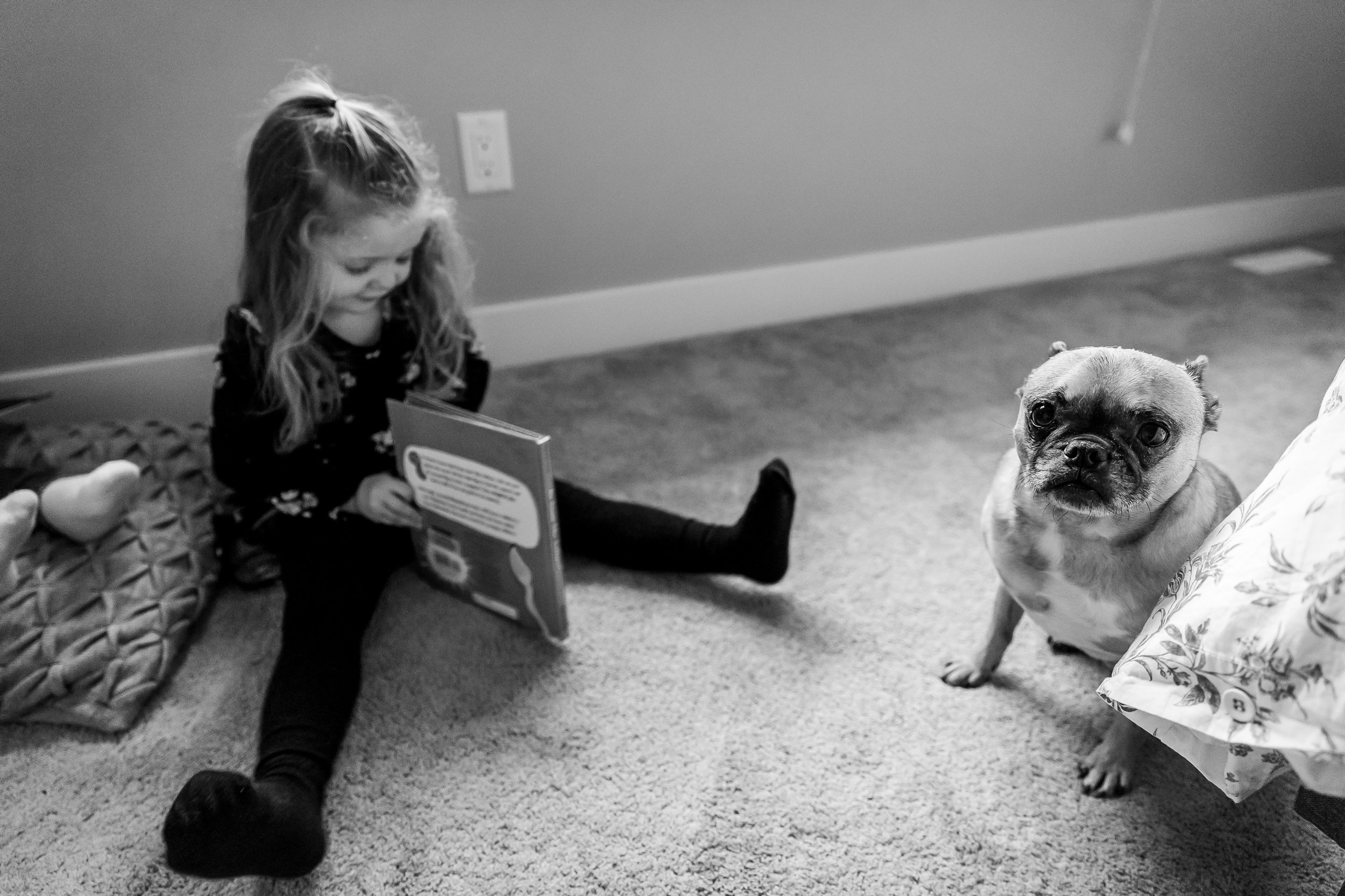 girl reading book beside dog maple ridge photographer
