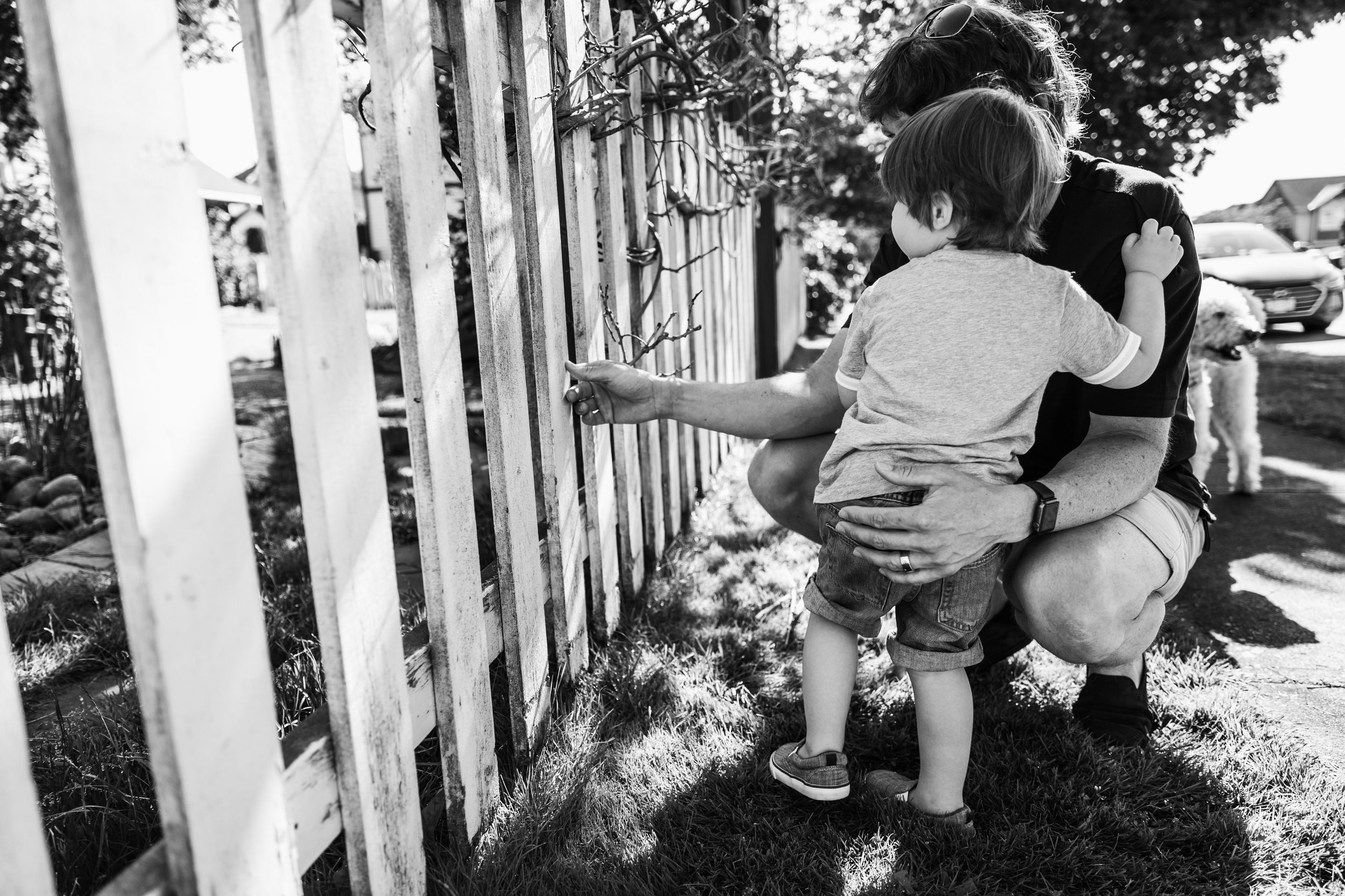 dad squatting down with young child looking through fence