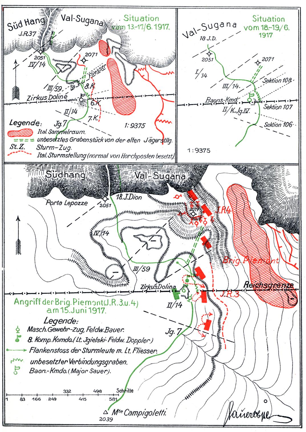 30 - 14° Hessen - Cartine batt. Ortigara dal 13 al 15 giugno 1917.jpg