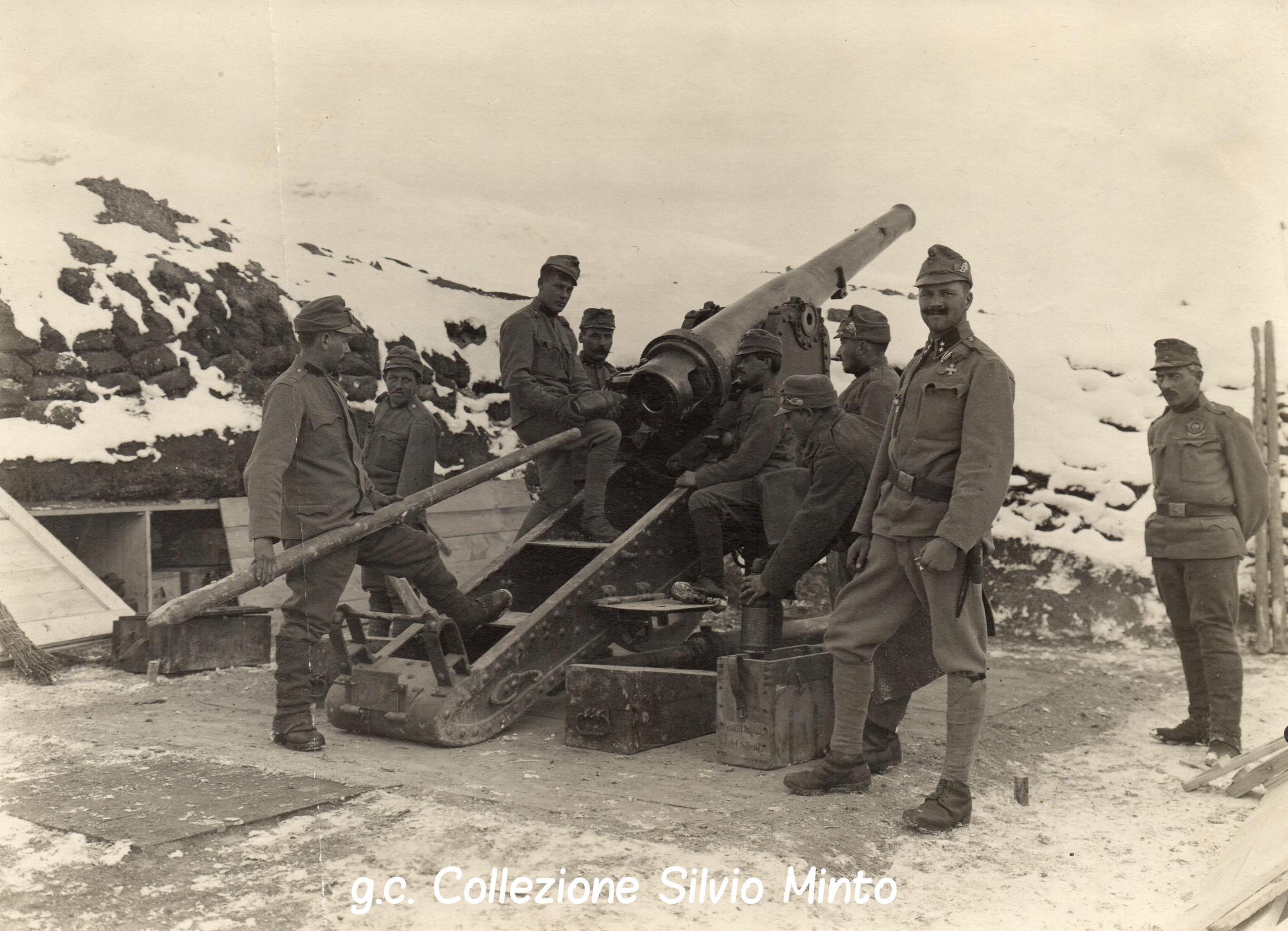 Batteria austroungarica con pezzo da 120 mm schierato nella zona del Knollkopf – gruppo della Croda Rossa