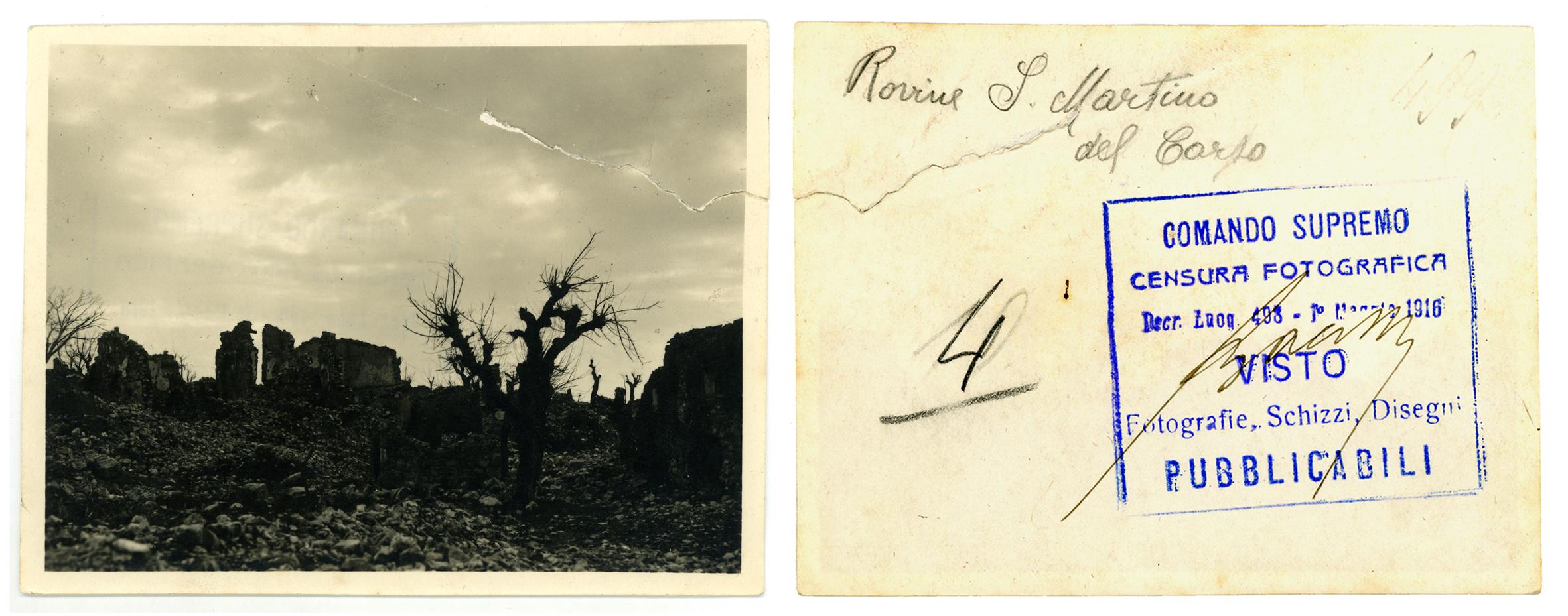 La prima fotografia acquisita dall'Archivio Storico Dal Molin - anno 1986 -le rovine di San Martino del Carso