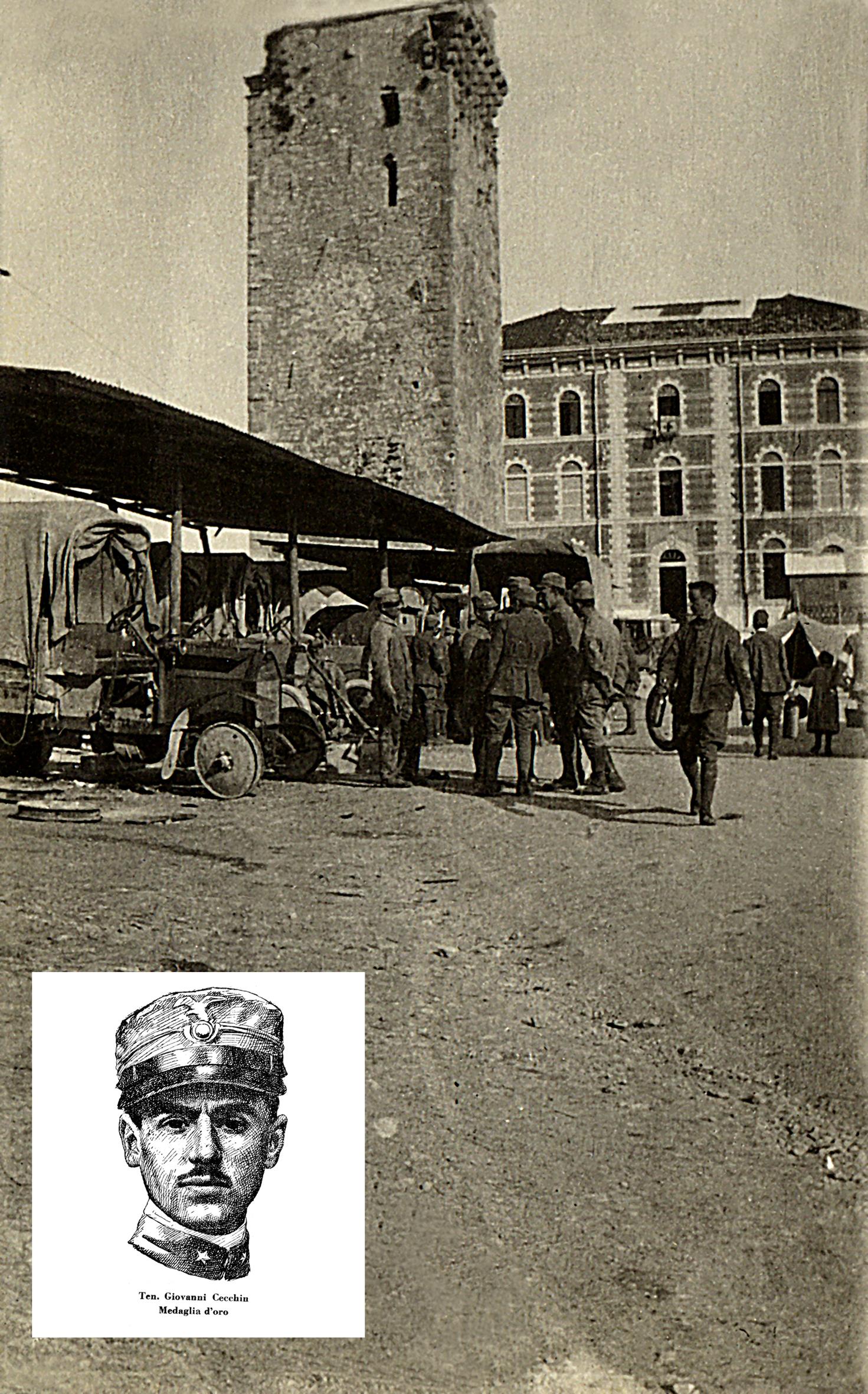 05 - l'autoparco davanti l'ospedale oggi municipio dove morirà G. Cecchin Med. d'oro sull'Ortigara -  ASDM.JPG