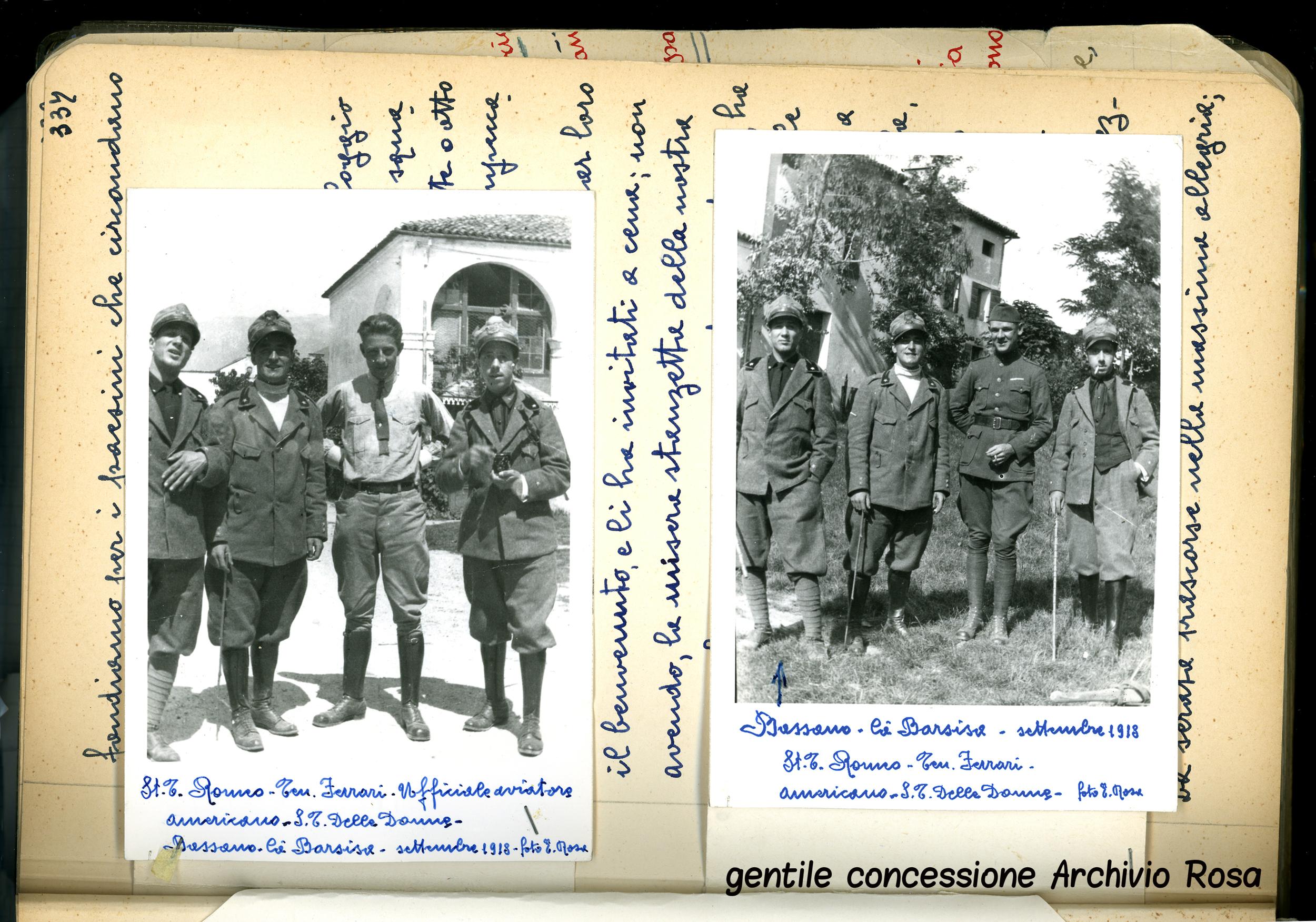 Arditi ritratti con un ufficiale pilota statunitense (a sinistra) e un americano (a destra) a Ca' Barsisa (che poi diverrà    Ca' Erizzo - il nome della villa cambiava in funzione della famiglia proprietaria)