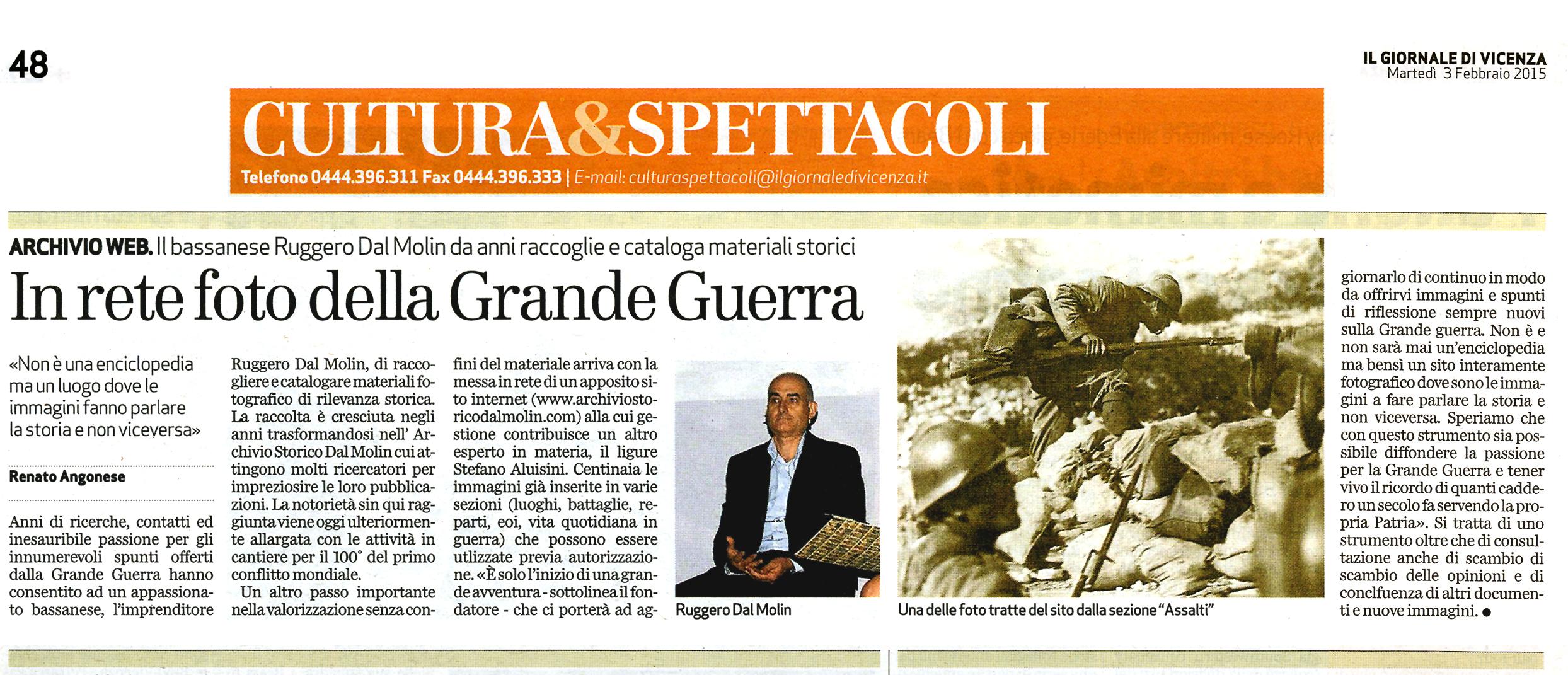 """Da """"Il Giornale di Vicenza"""" del 3 febbraio 2015"""