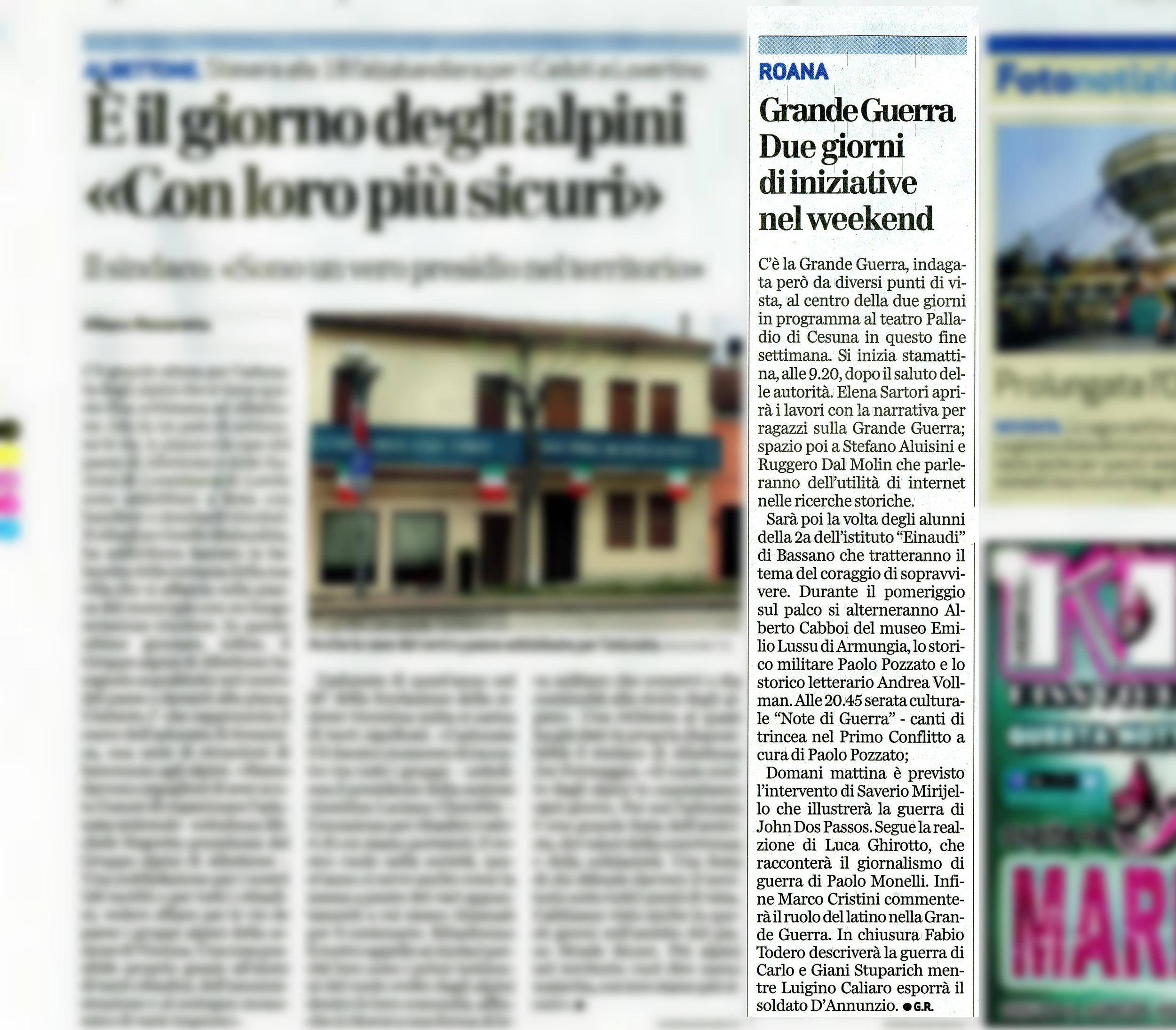 """Da: """"Il Giornale di Vicenza"""" 18 aprile 2015"""