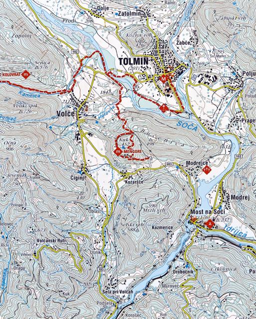 Cartina della Testa di Ponte di Tolmino. La collina di Santa Lucia è indicata come Selski vrh, con in evidenza la q. 588.