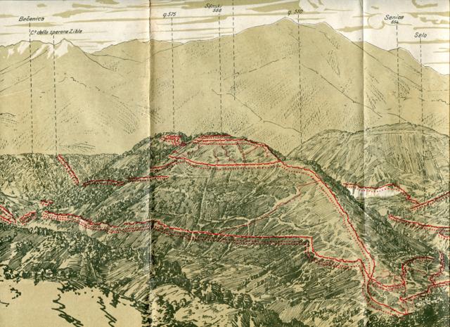 Veduta di Santa Lucia in una stampa della Sezione Informazioni del Regio Esercito Italiano. Sono tracciate le linee austriache.