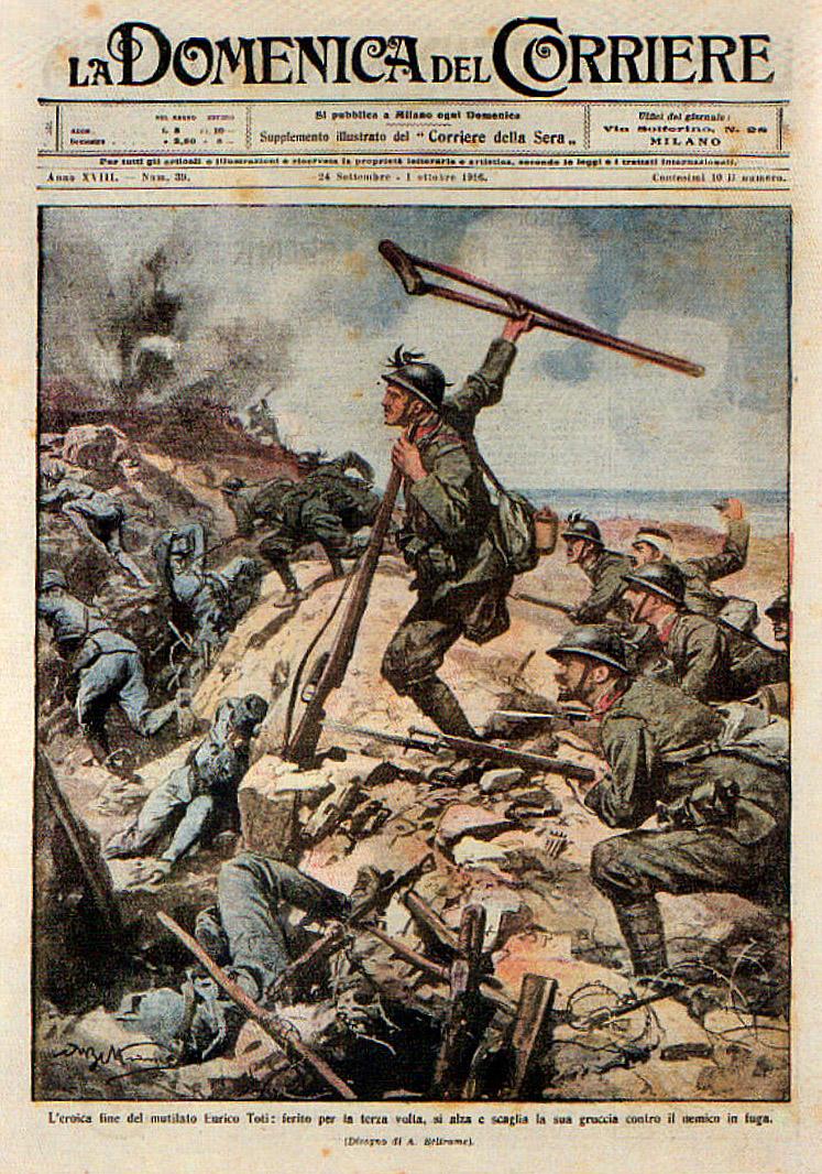 La Domenica del Corriere celebra in una tavola di Achille Beltrame l'eroismo dei Bersaglieri e di Enrico Toti nei combattimenti del 6 agosto del 1916 a q. 85