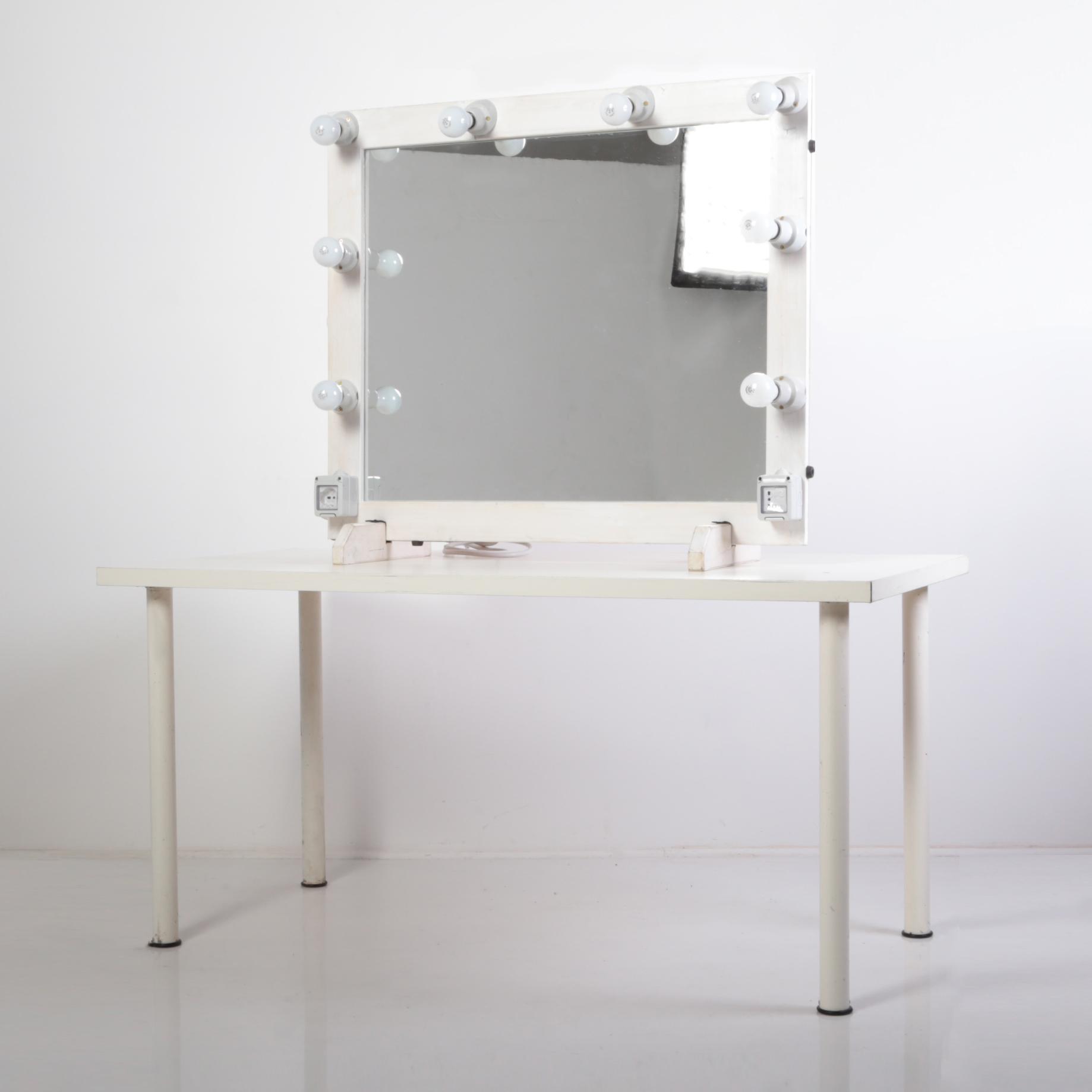 specchio trucco legno
