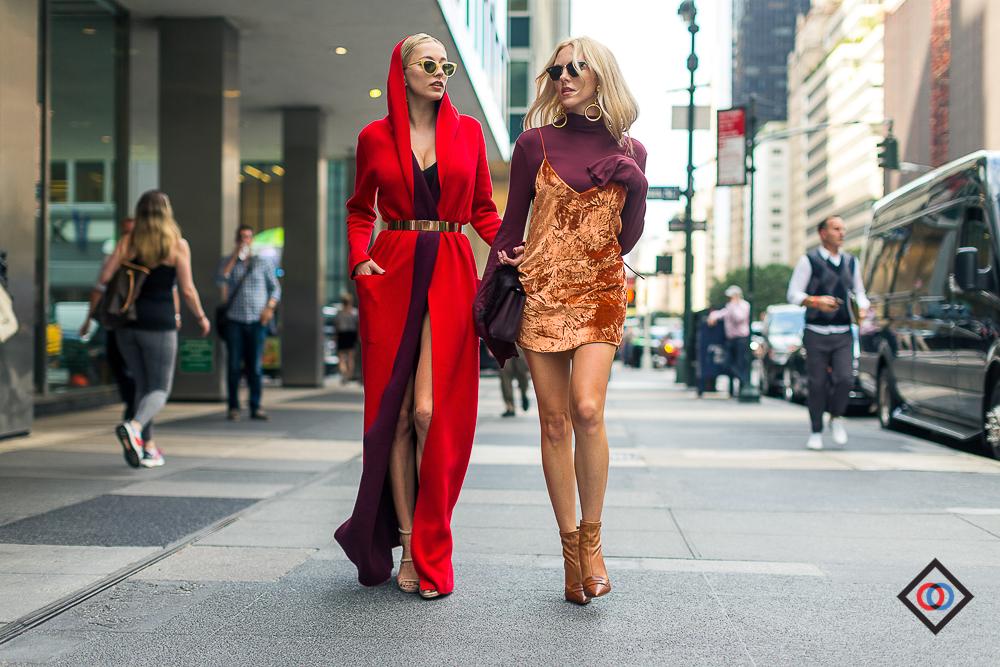 AKRIS red coat on  CAROLINE VREELAND and  ARE YOU AM I velvet sleep dress on  SHEA MARIE