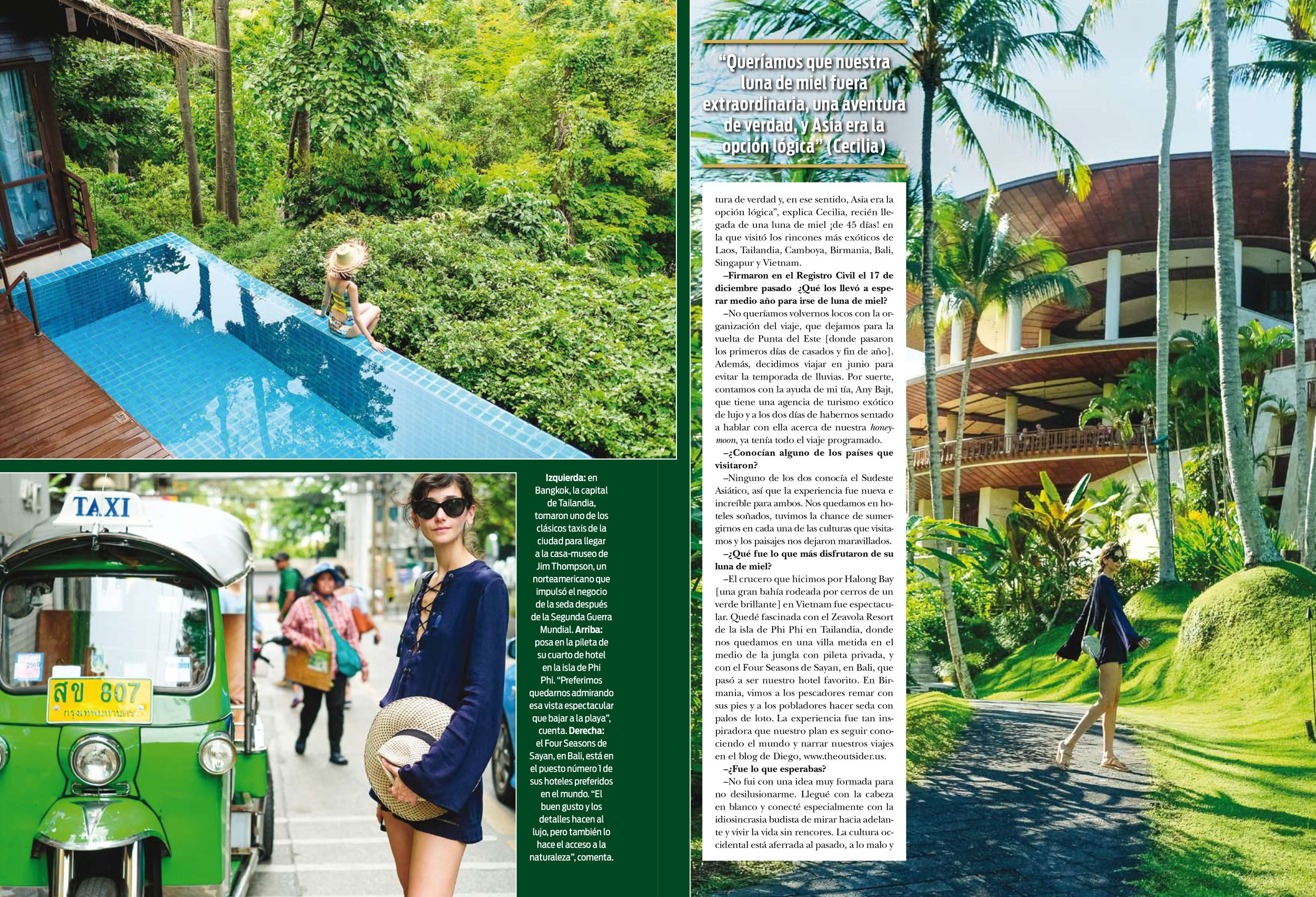 Our Honeymoon featured in ¡HOLA! Argentina - In collaboration with Four Seasons Bali and Small Luxury Hotel's Angkor Village Resort in Siam Reap, The Luang Say Residence in Luang Prabang and Zeavola Phi Phi Resort in Phi Phi. /Click here to read the full Interview
