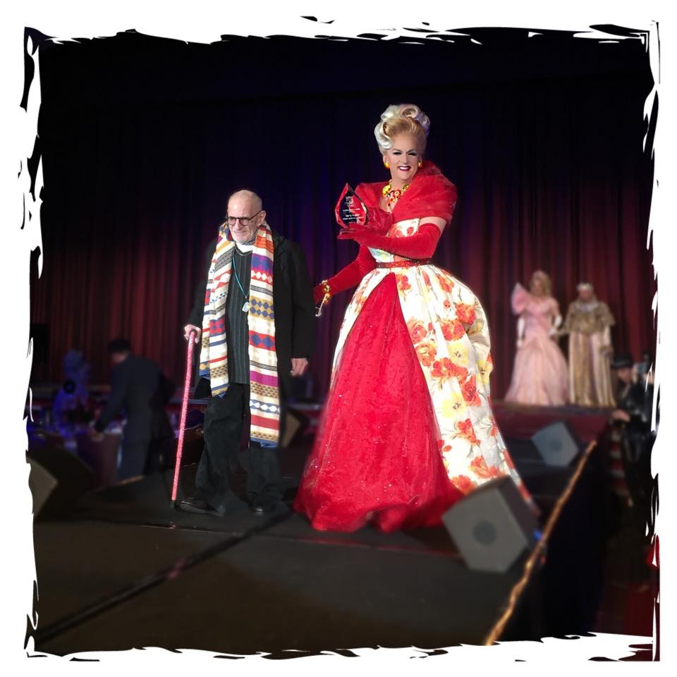 Doris Dear escorting Larry Kramer                                                        at Night of 1000 Gowns, 2015                                                     in a custom designed and built gown
