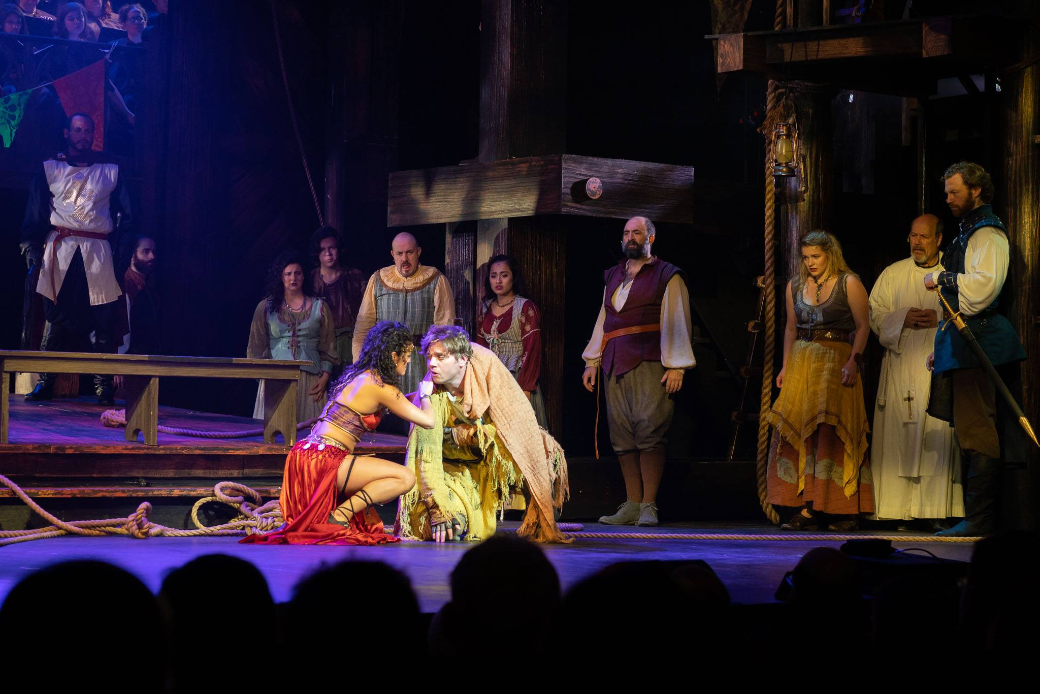 Kalyn West as Esmarelda with Nate Hackman as Quasimodo