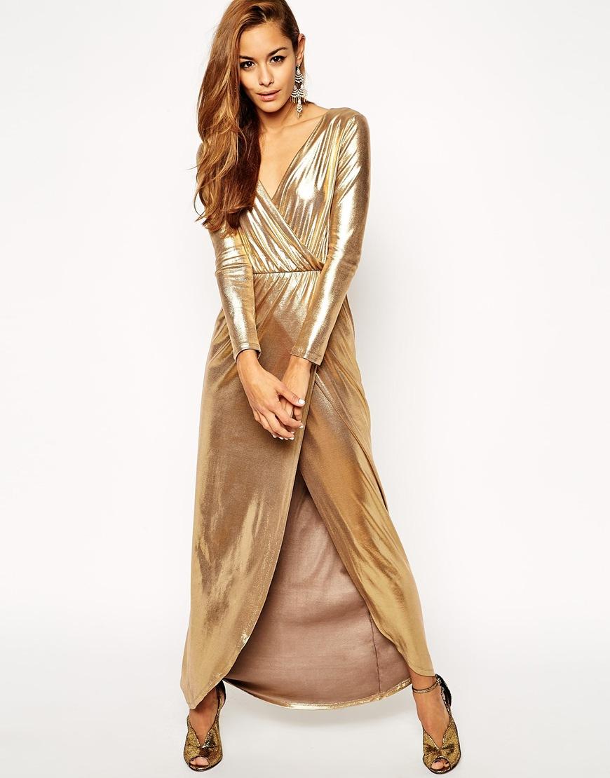 Gold Wrap Maxi Dress ASOS $104.23