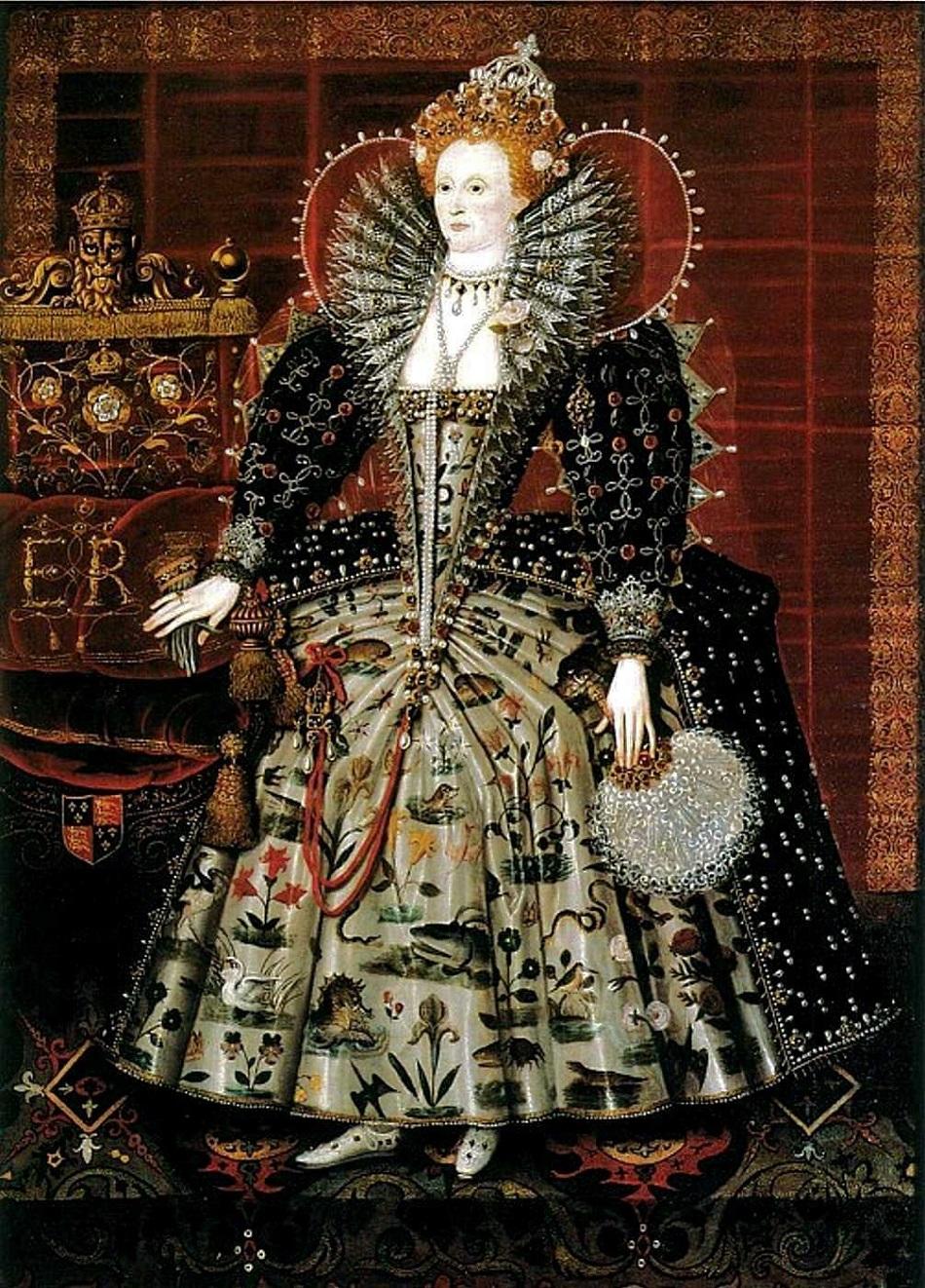 1592-99 Queen Elizabeth I 1533-1603  The Hardwick Portrait by Nicholas Hilliard and his workshop. (2).jpg