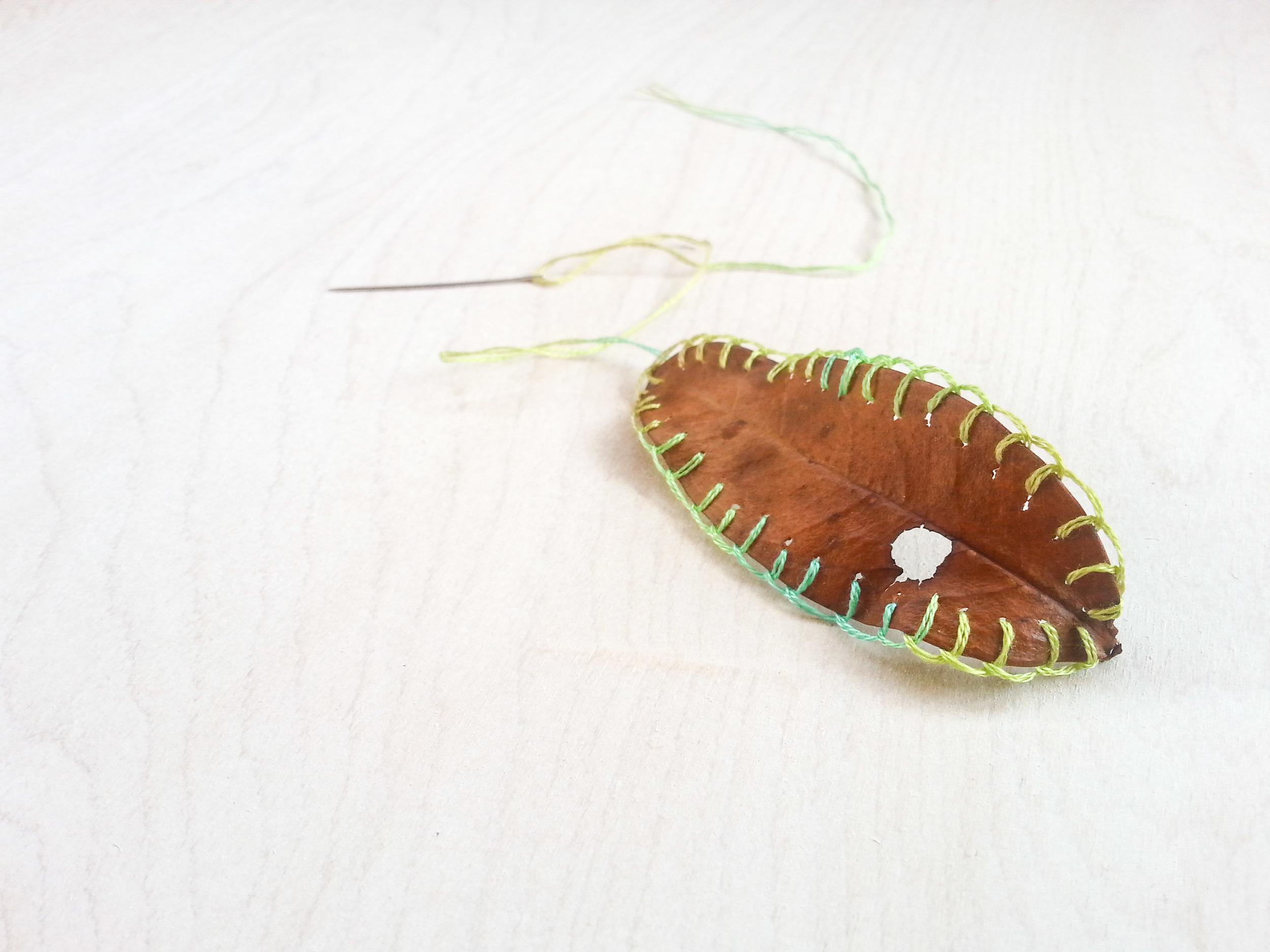 embroidery on leaf