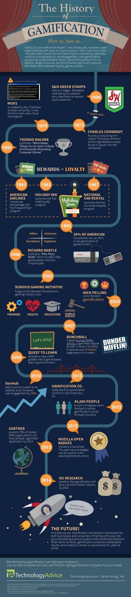 Historia de la Gamificación con algunos de los ejemplos más relavantes como el proyecto de Mozilla Open Badges