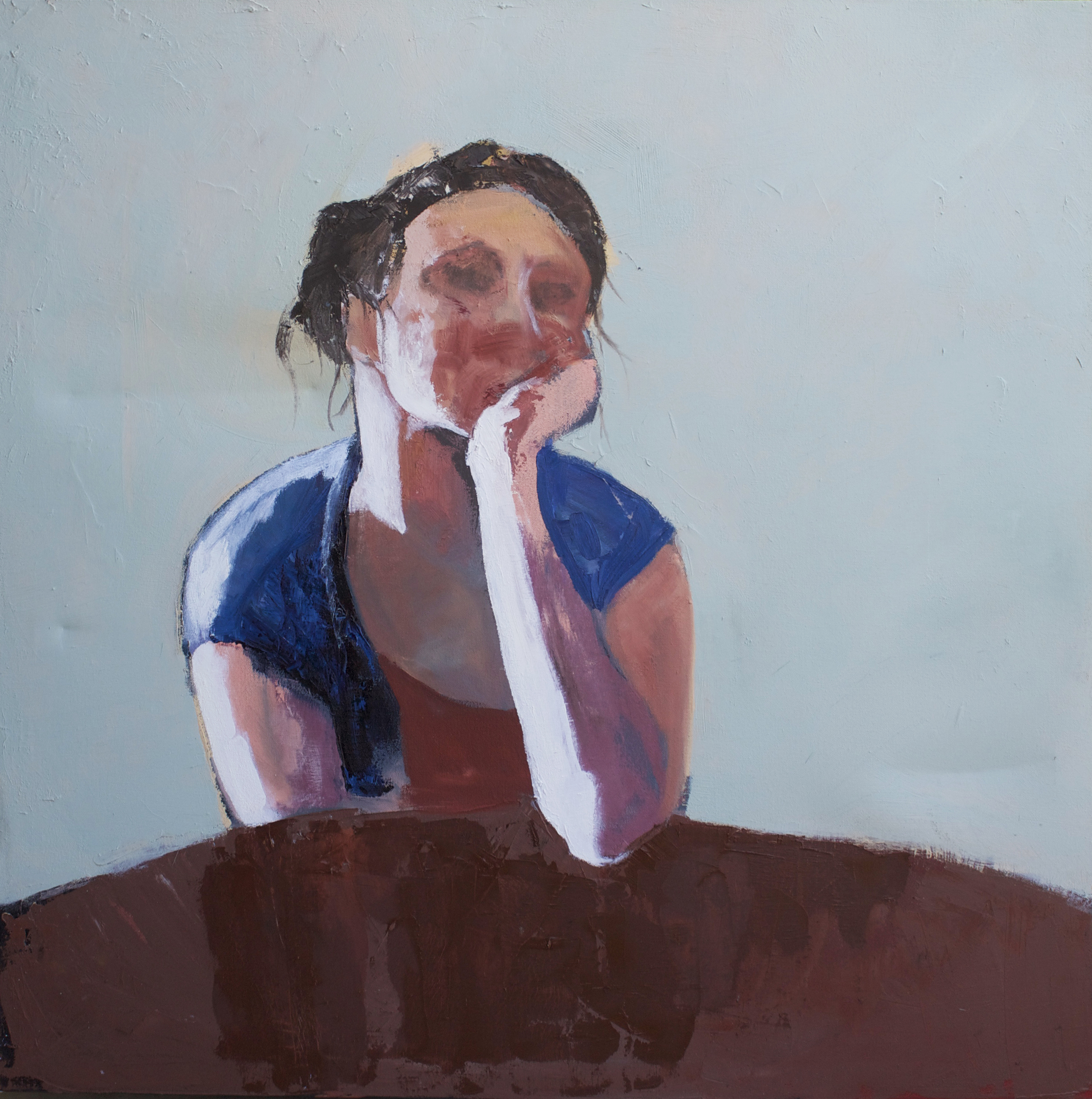 """heather, seated at table  