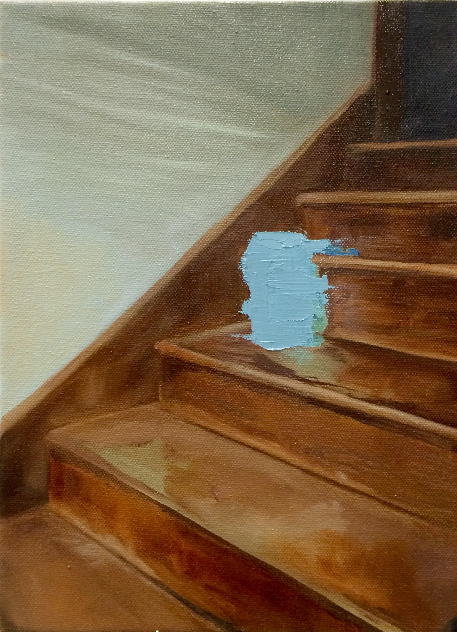 ghost on the stairs  | oil on canvas.  12x9""