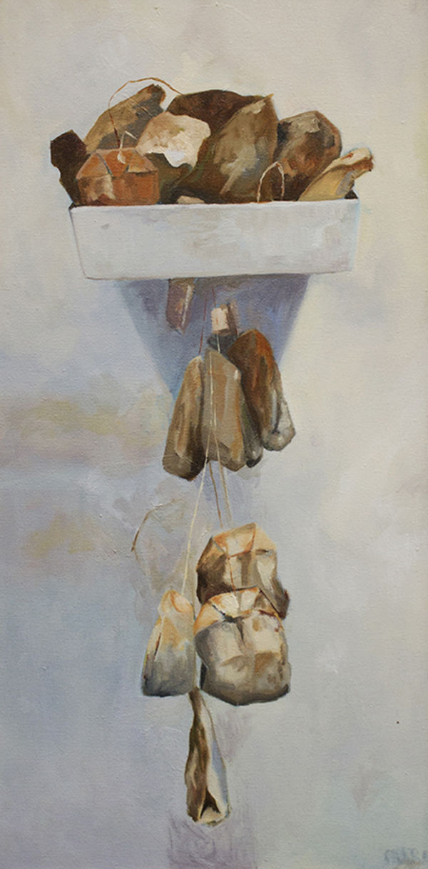 "handbasket    oil on canvas.  24x12"""