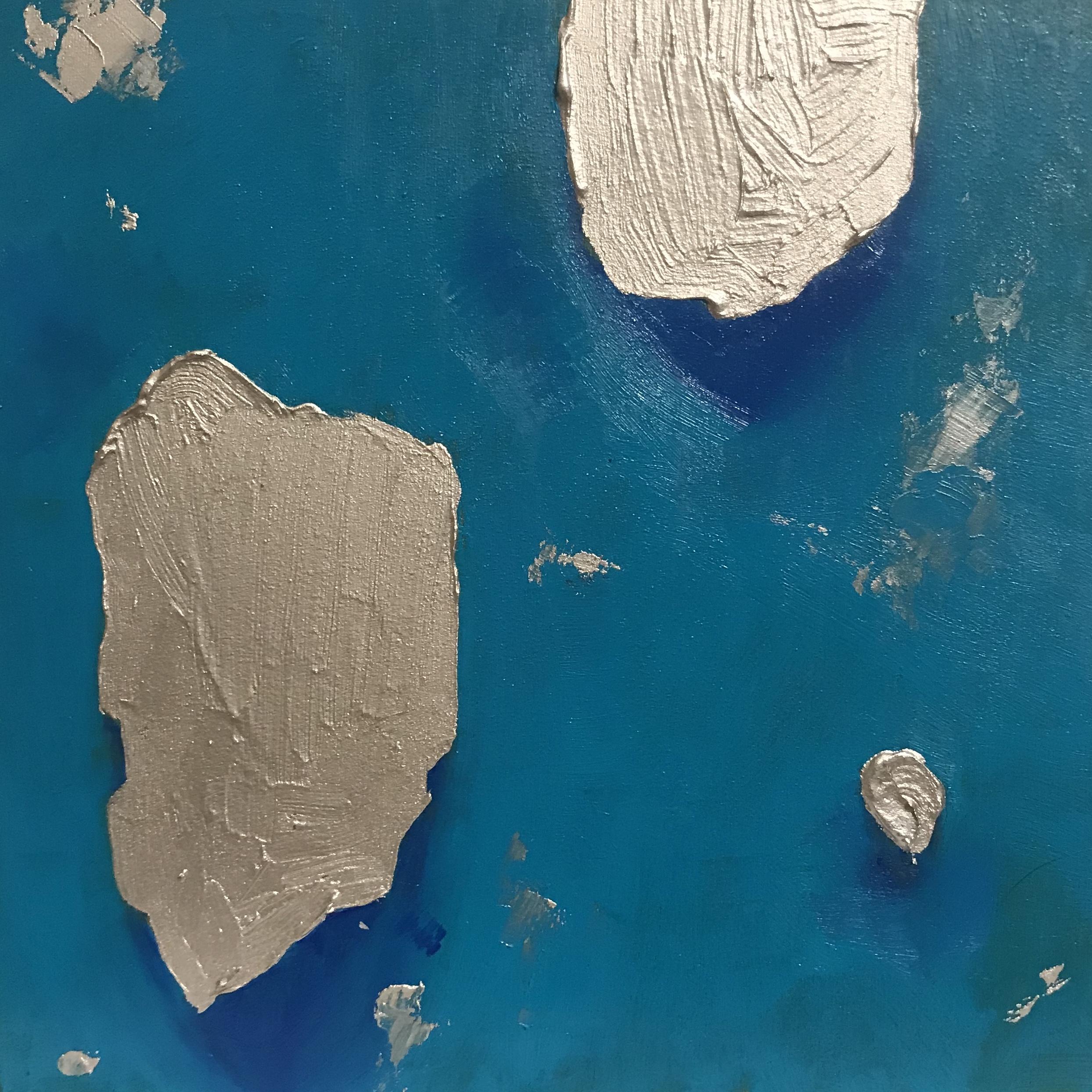 "manic  | oil and metallic pigment on panel  6"" square"