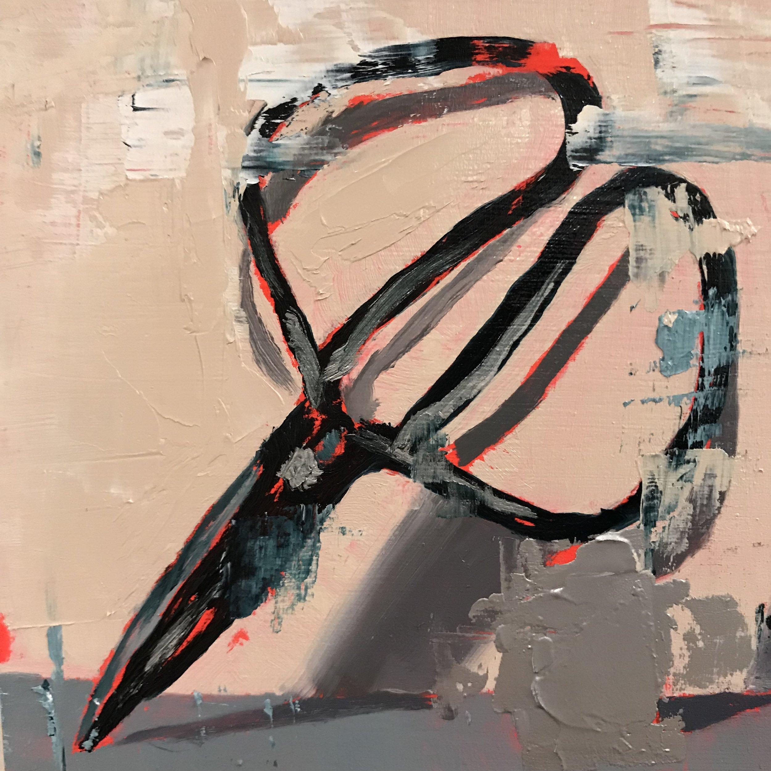"portrait of atropos    oil and metallic pigment on panel  4"" square"