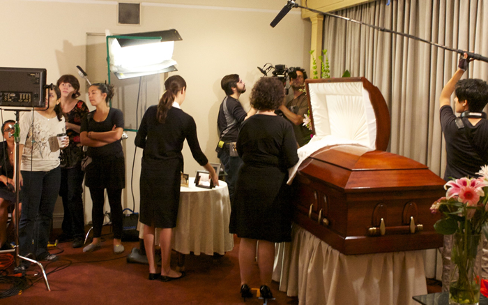 "Cast and crew on the set of ""Vivienne Again"" 