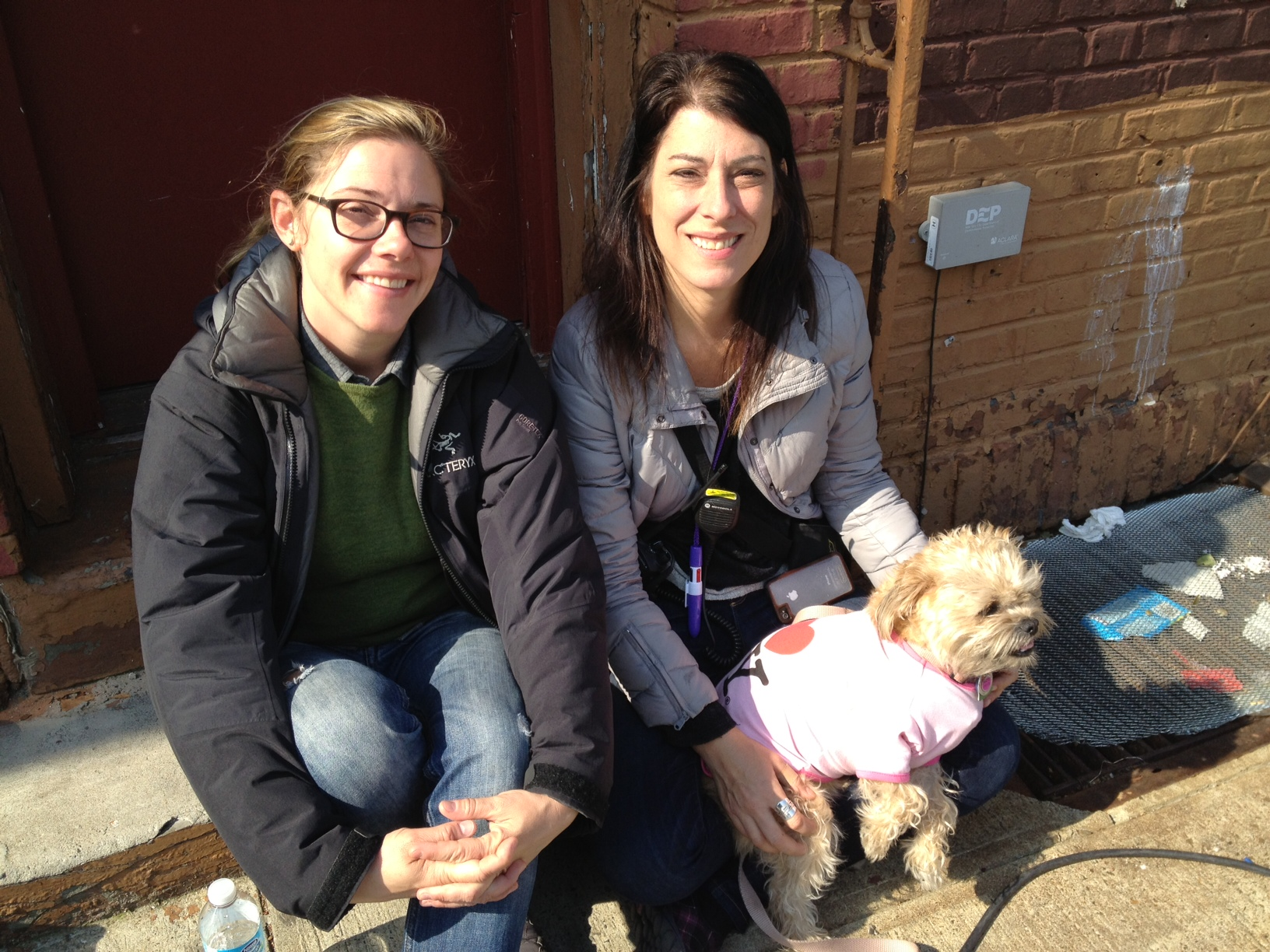 """Co-Producer Lynn Appelle (right) on the set of """"Rob the Mob"""" with 2nd AD Sarah Fairchild & Bitsy (Lynn's dog, working as an extra that day) 