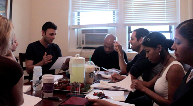 "Working hard at our table read for ""Deal Travis In"""