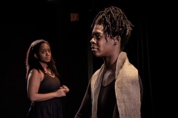 Erin Roché and Jehan O. Young in  Hottentotted  at The Tank in February 2017. Photo by Josh Luxenberg.